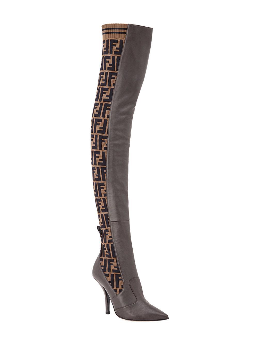 3c163d077e5 Lyst - Fendi Ff Motif Thigh-high Boots in Brown - Save 9%