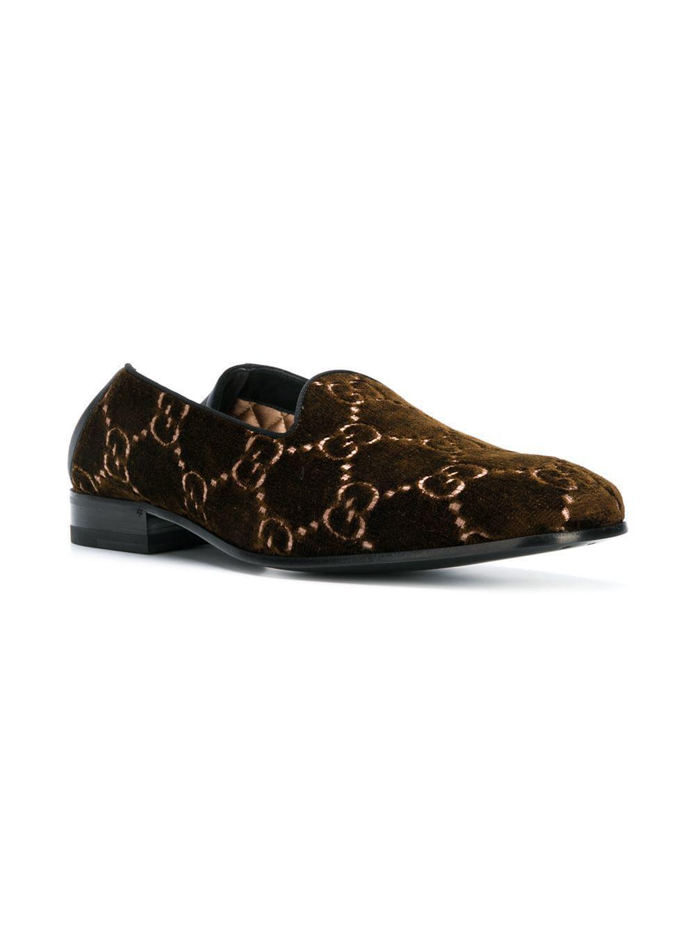 6de6edc5ba8 Gucci GG Velvet Loafers in Brown for Men - Lyst