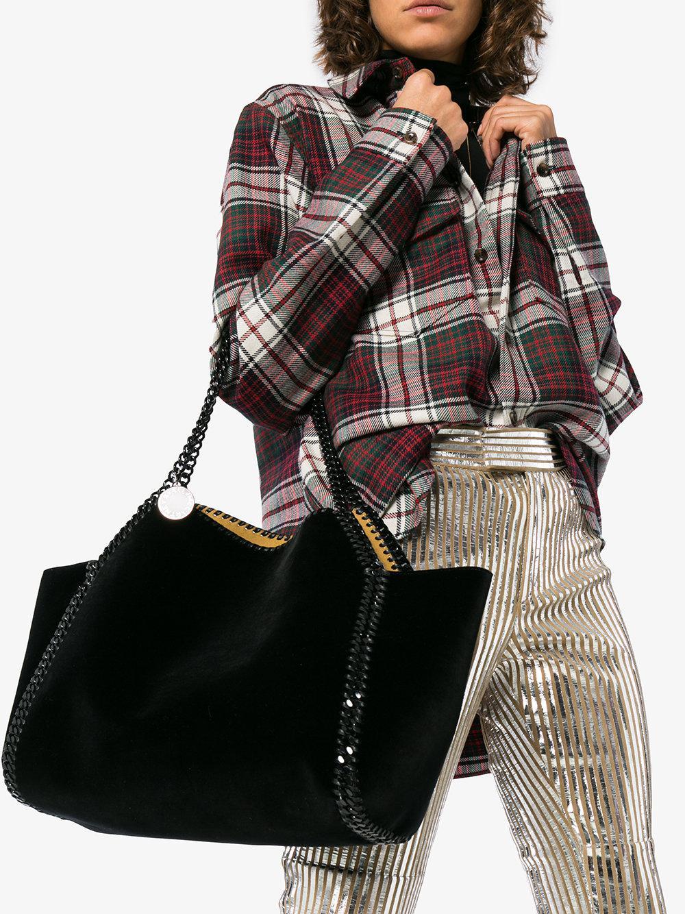 d7a2d67332e1d Stella McCartney Black Falabella Reversible Velvet Shoulder Bag in Black -  Lyst