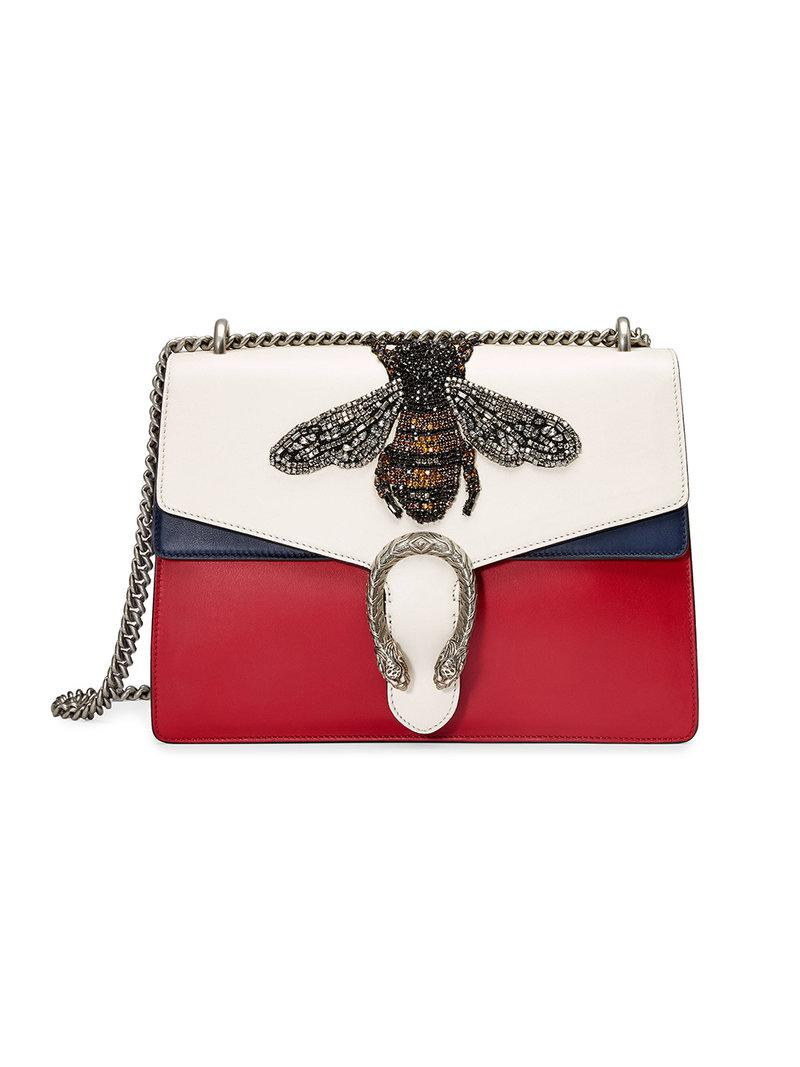 681ec6a7904 Lyst - Gucci Dionysus Embroidered Leather Shoulder Bag in White