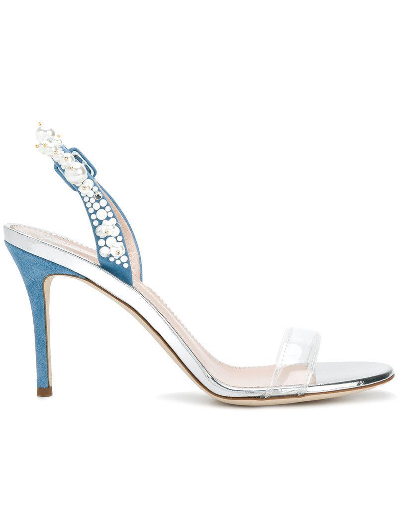 Perle De Conception Zanotti Fronde Embelli Giuseppe Dos Sandales - Blanc cgjesiaF9D