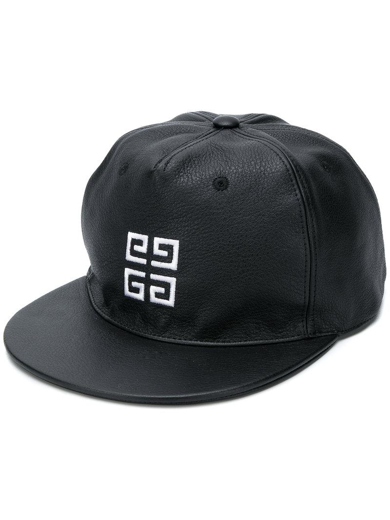 e650a3e189f Givenchy - Black Embroidered Logo Leather Cap for Men - Lyst. View  fullscreen