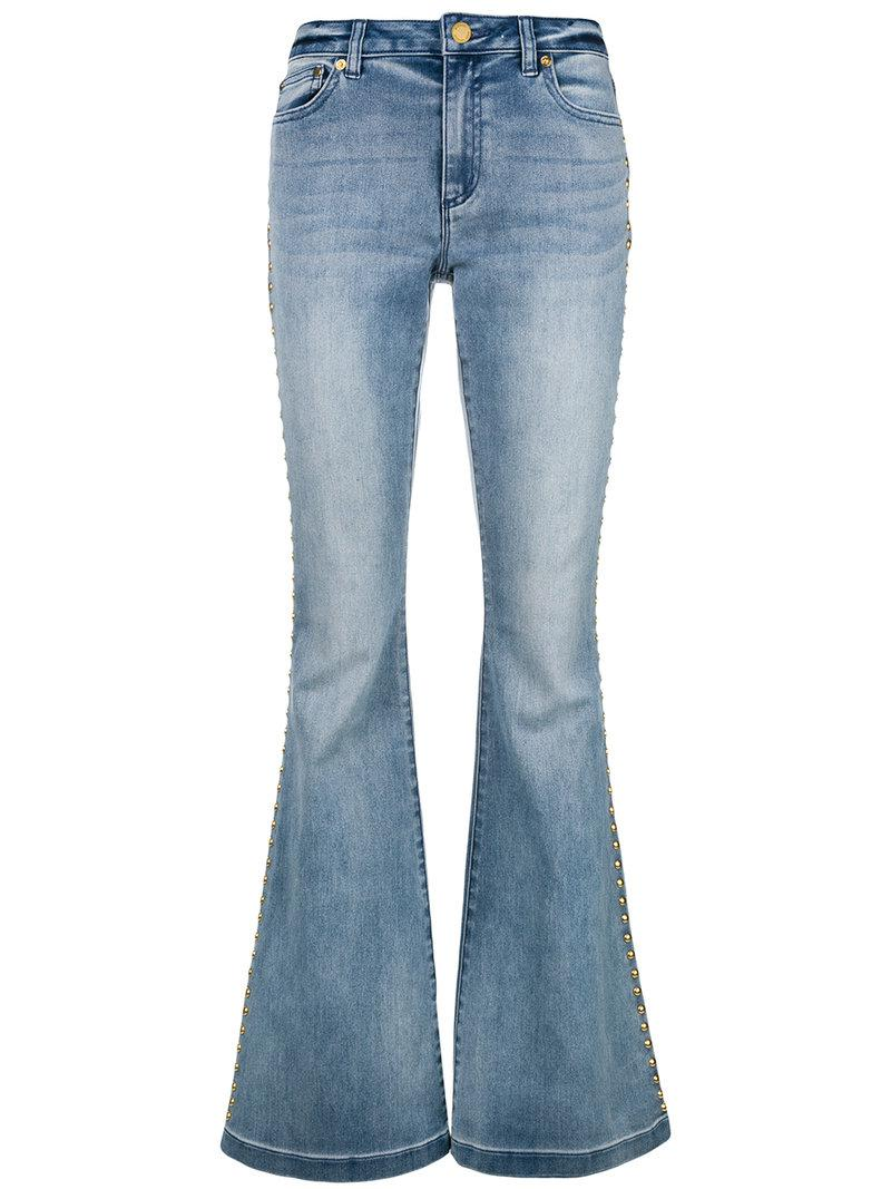 42f698c2d4aabd Lyst - MICHAEL Michael Kors Studded Flared Jeans in Blue