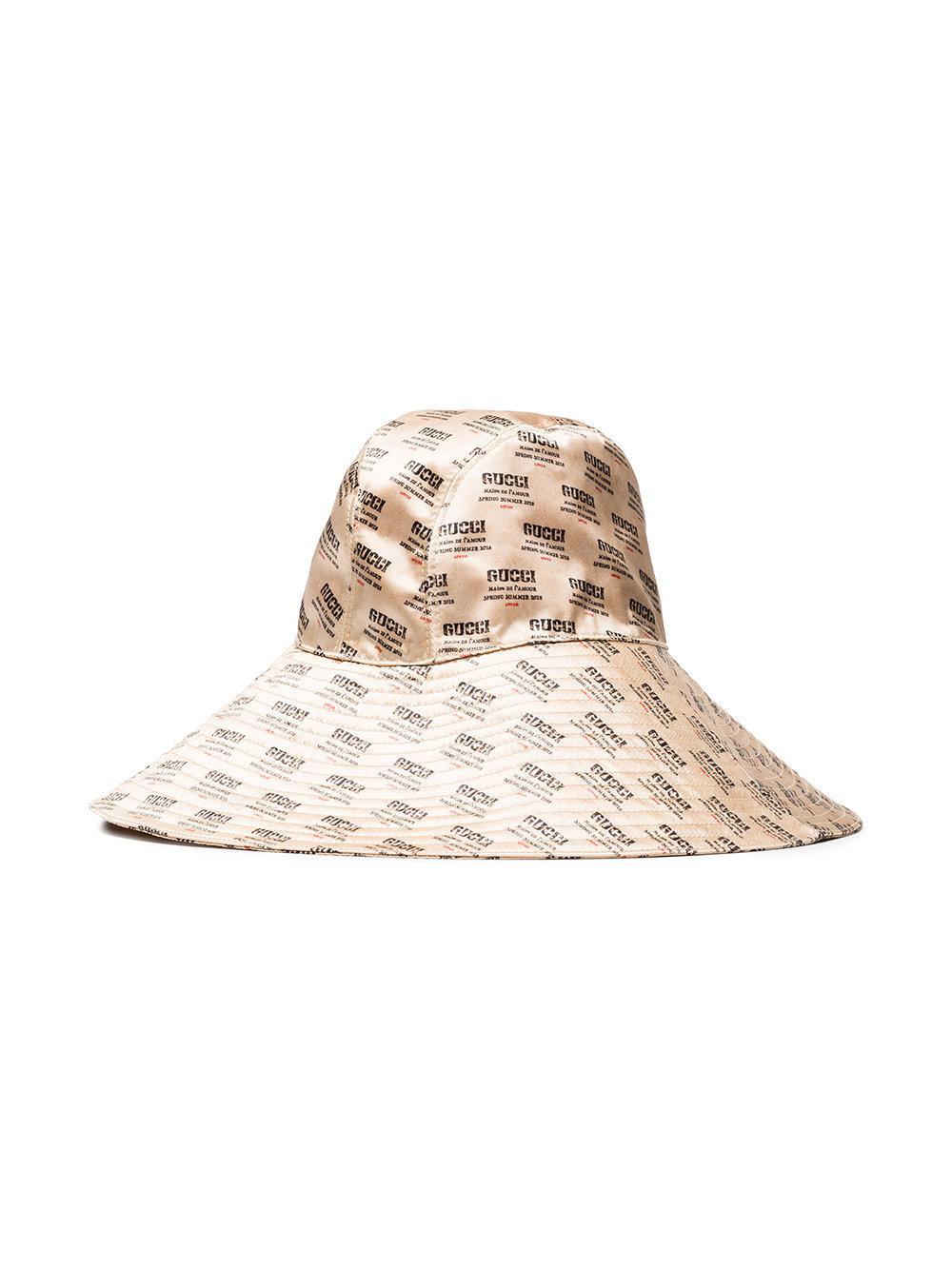 Lyst - Sombrero con motivo invite Gucci de color Neutro 2f56955969b