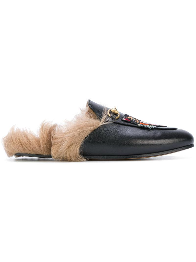 0e61bb80df8 Gucci Princetown Tiger Head Slippers in Black - Save 21% - Lyst