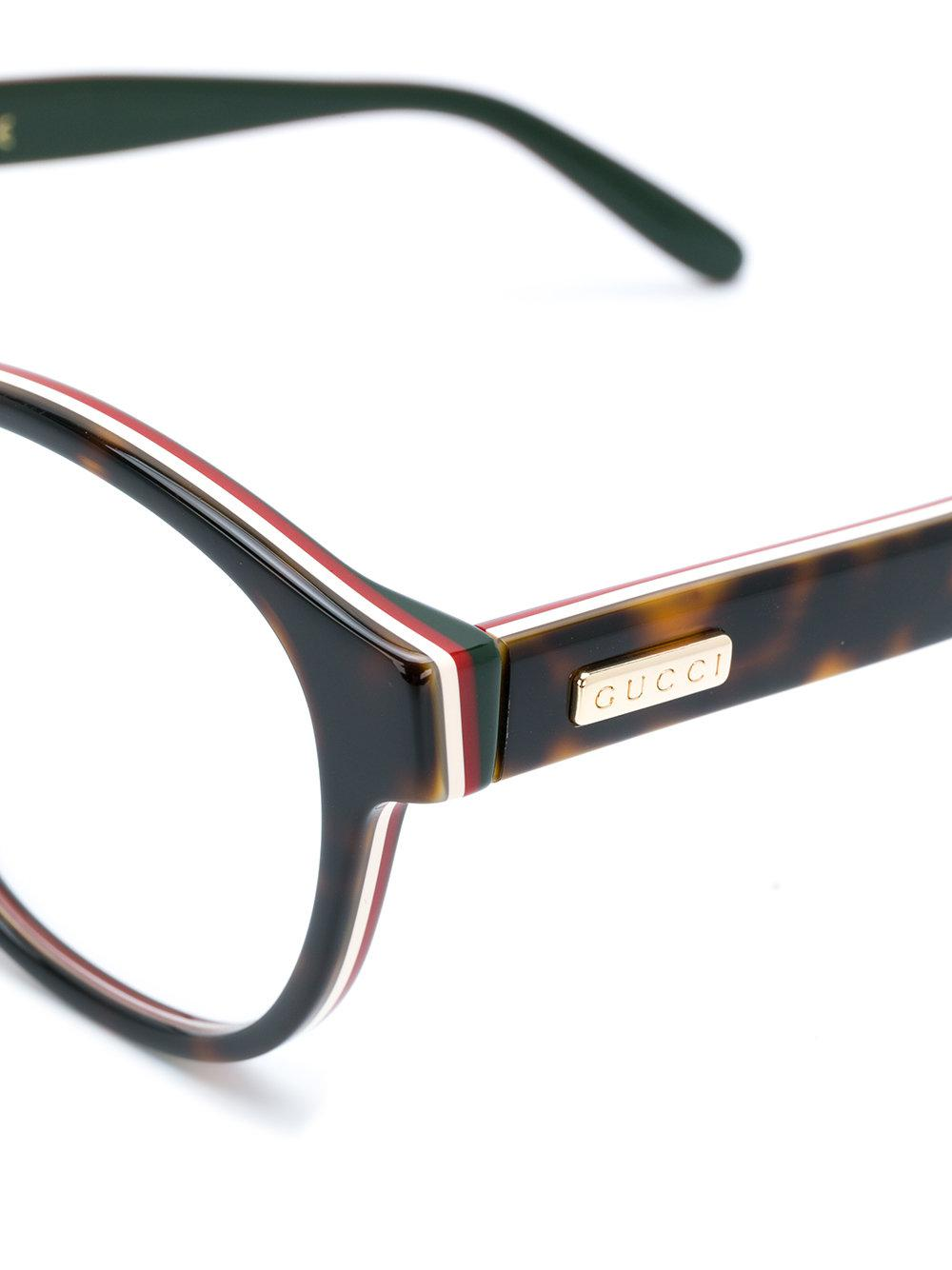 869ced8d60 Gucci - Brown Tortoiseshell Round Frame Glasses - Lyst. View fullscreen