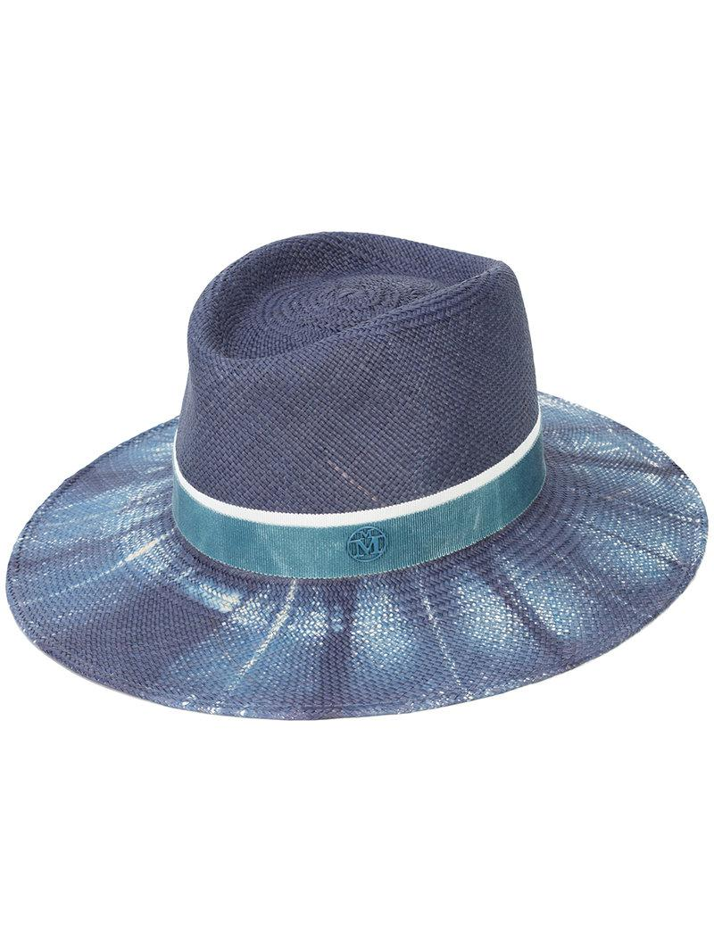 8c9155aeb24 Lyst - Maison Michel Charles Bleached Denim Hat in Blue
