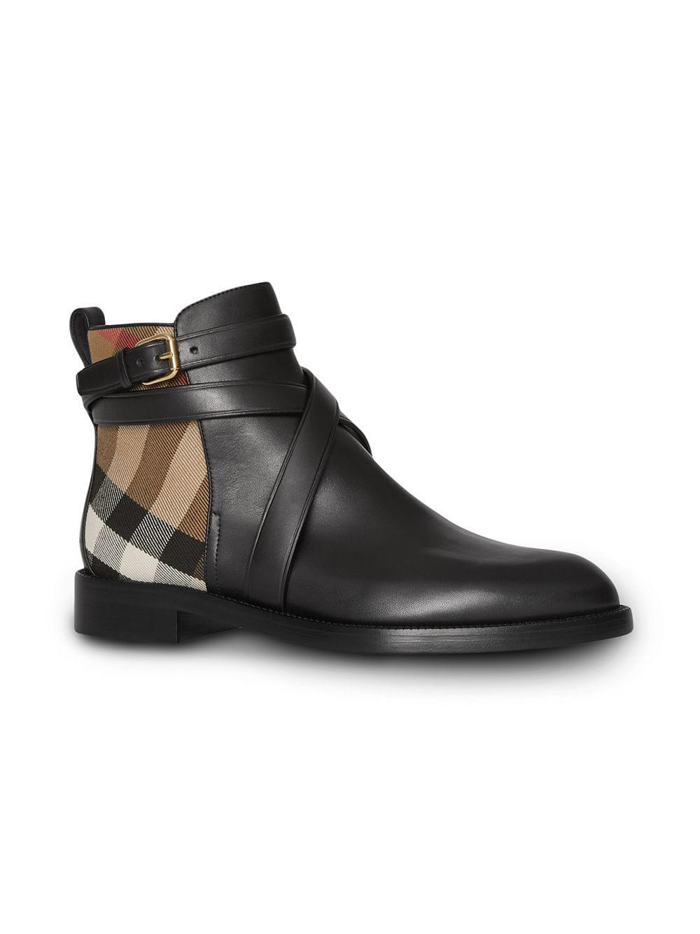 0bb7d5bc5a99 Lyst - Burberry House Check And Leather Ankle Boots in Black - Save 24%