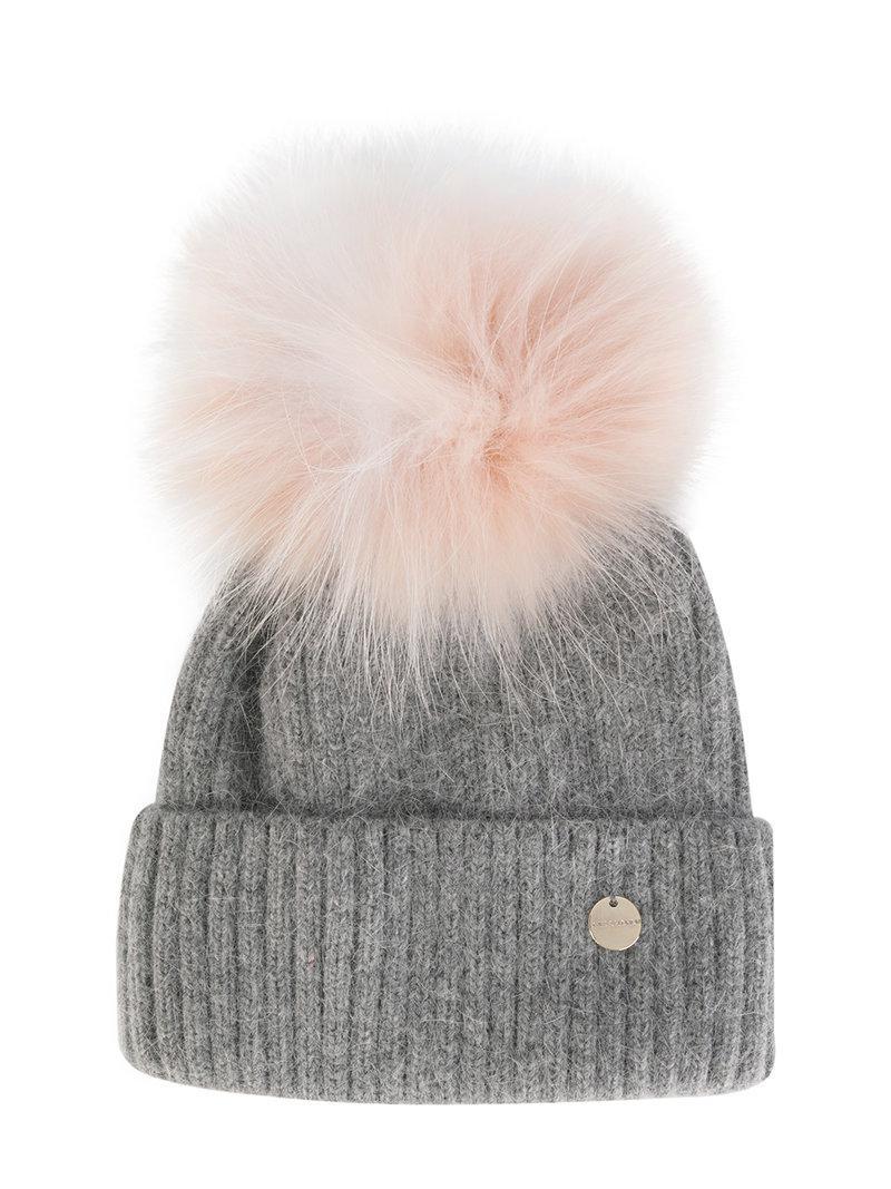 5d735855 Yves Salomon Removable Pom Pom Knit Hat in Gray - Lyst