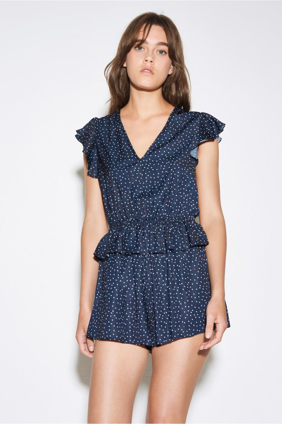 12d38a91714 Lyst - The Fifth Label Rooftop Polka Dot Playsuit in Blue