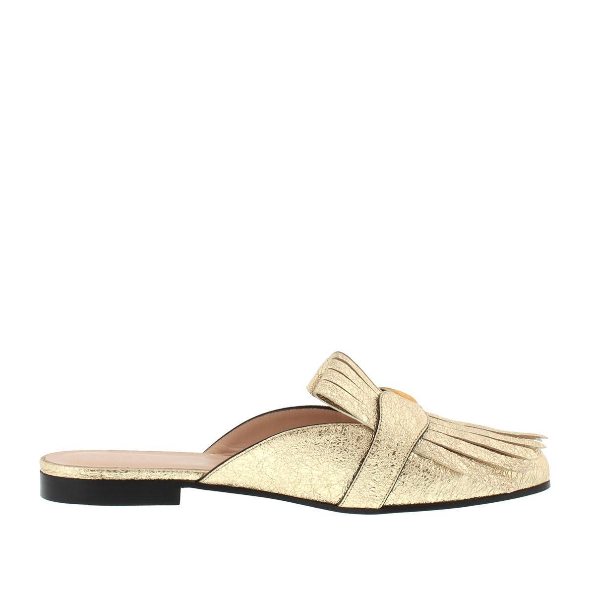 77d1e1cc7 Gucci - Marmont Metallic Laminate Leather Slipper Gold - Lyst. View  fullscreen