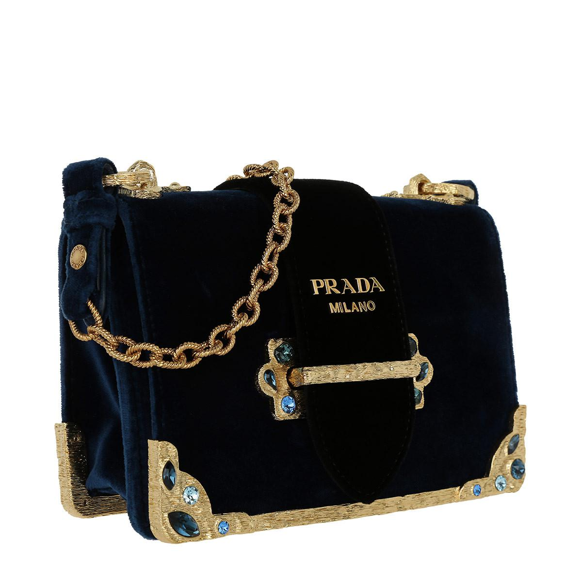 88ea90418ae4 ... top quality prada cahier velvet bag zaffiro nero in black lyst 6924c  c8892