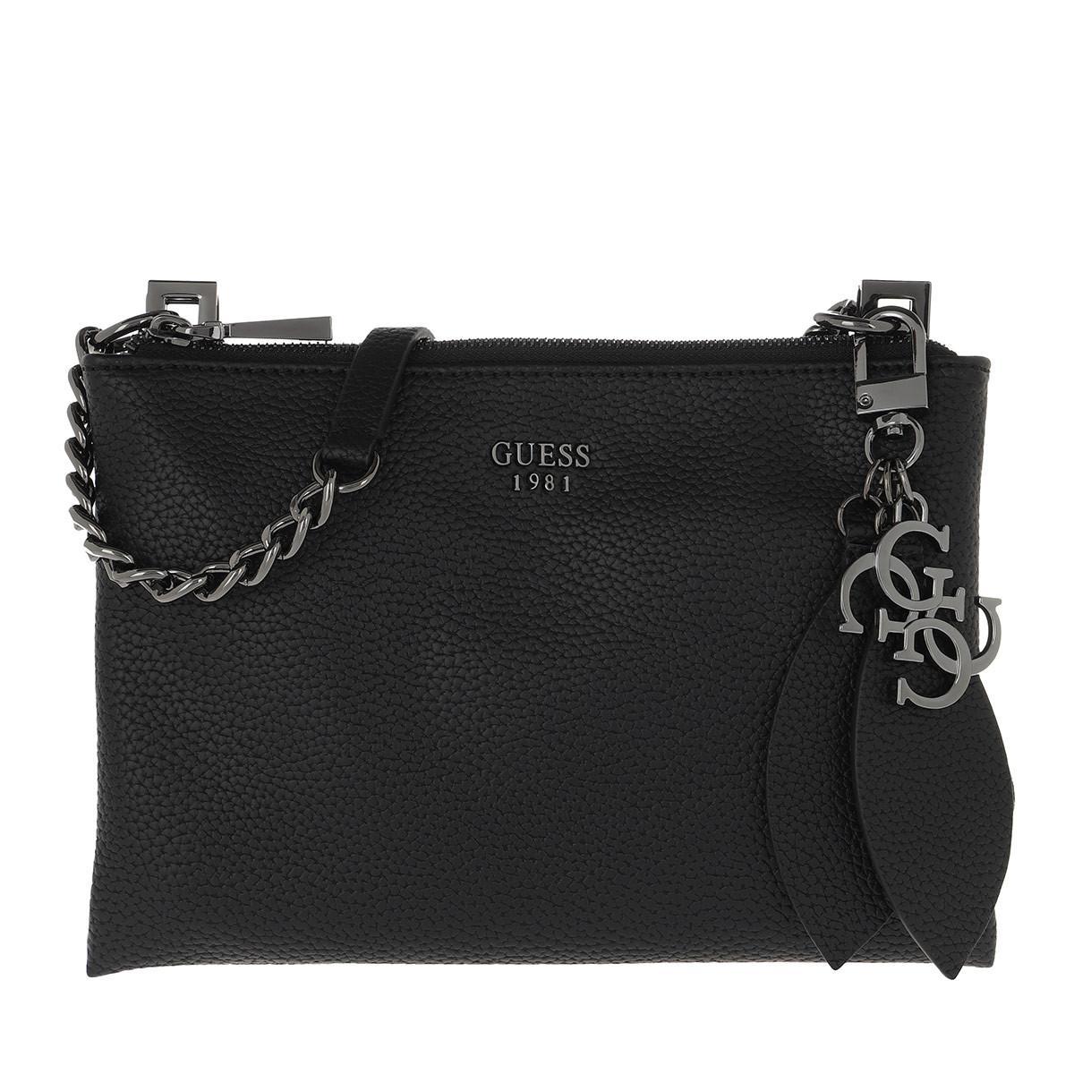 Guess. Women's Lou Lou Mini Crossbody Bag Top Zipper Black
