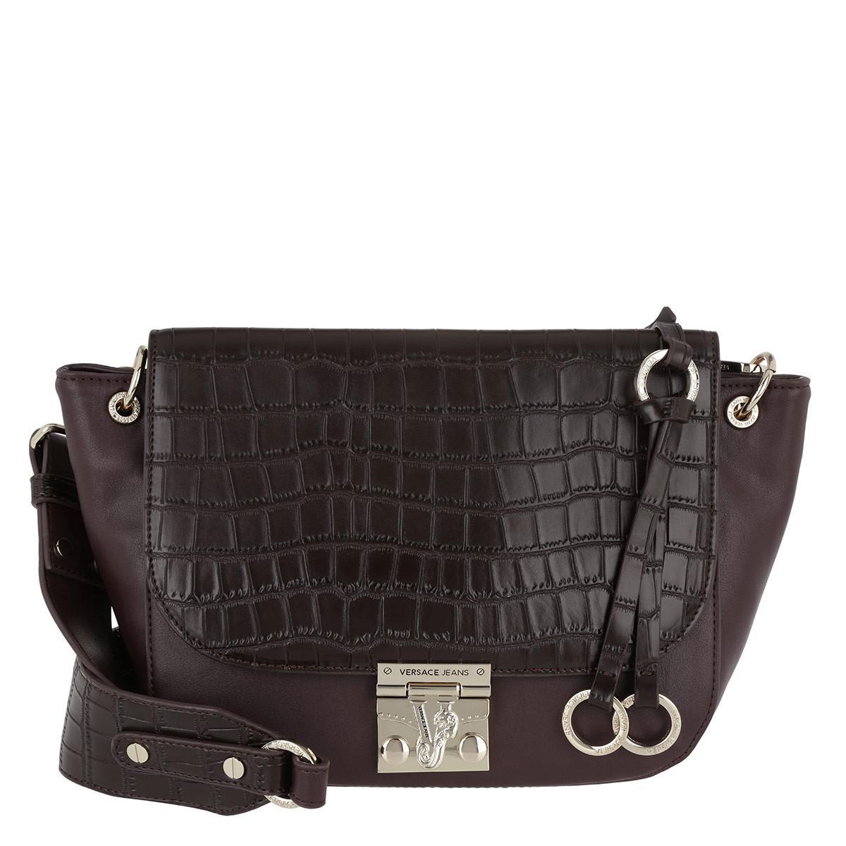 Versace Jeans Satchel Croco Mandorla in Black - Lyst 953ef67502