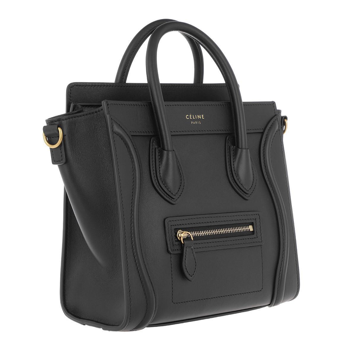 cb85dc48a4d4 Céline Autch Luggage Nano Shopper 2way Leather Black in Black - Lyst