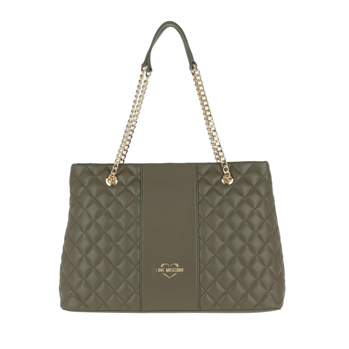 5c29017df1f70 Love Moschino - Green Quilted Nappa Shopping Bag Verde - Lyst. View  fullscreen