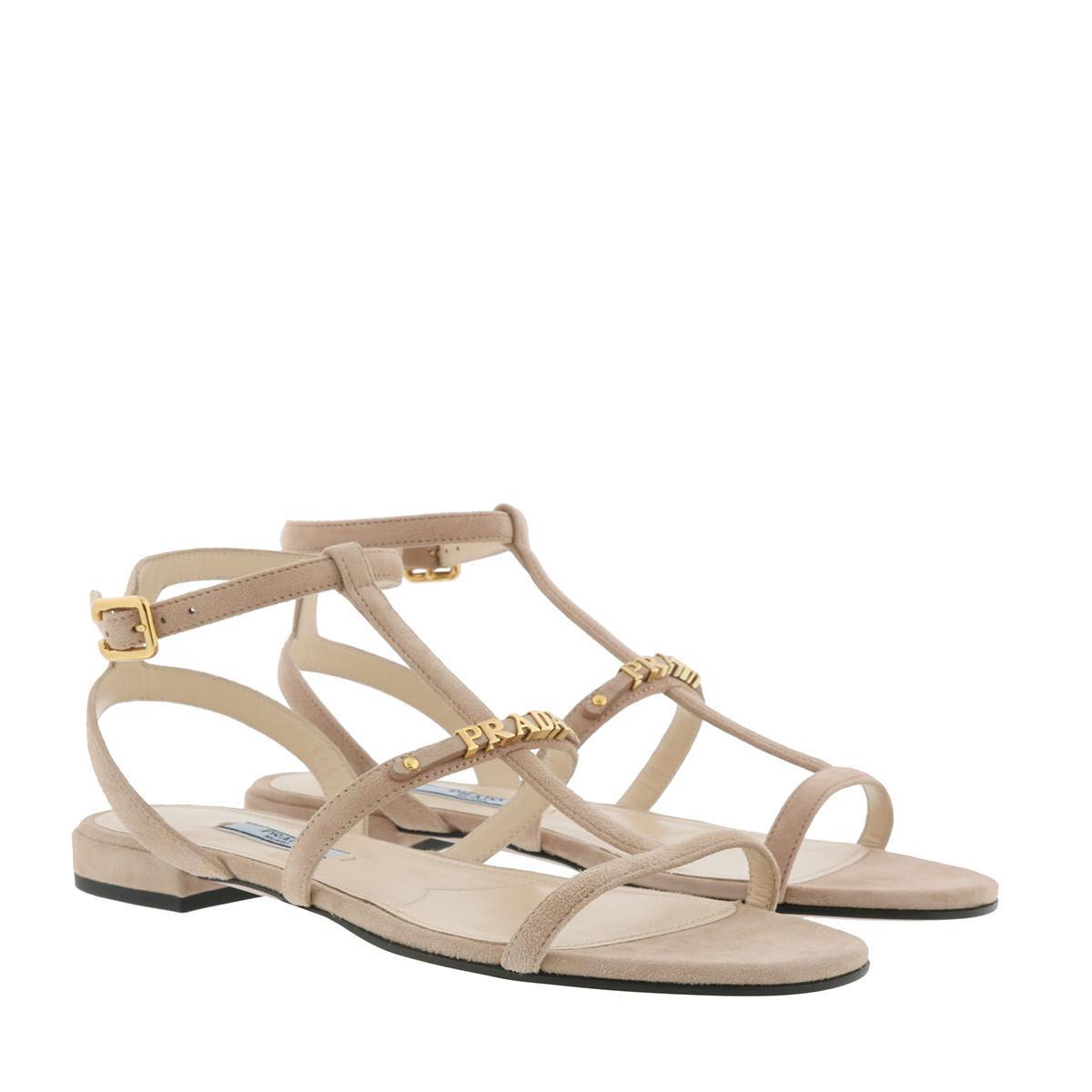 22c2f4aae1642f Camoscio piel natural planas de en Prada cabra desnuda sandalias Lyst  FtgqnwpE