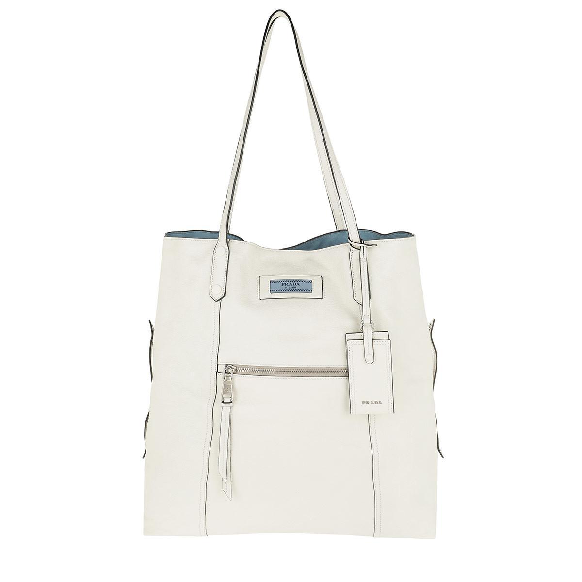 272cf066010f Prada Etiquette Shopping Bag Leather Bianco/astrale - Lyst