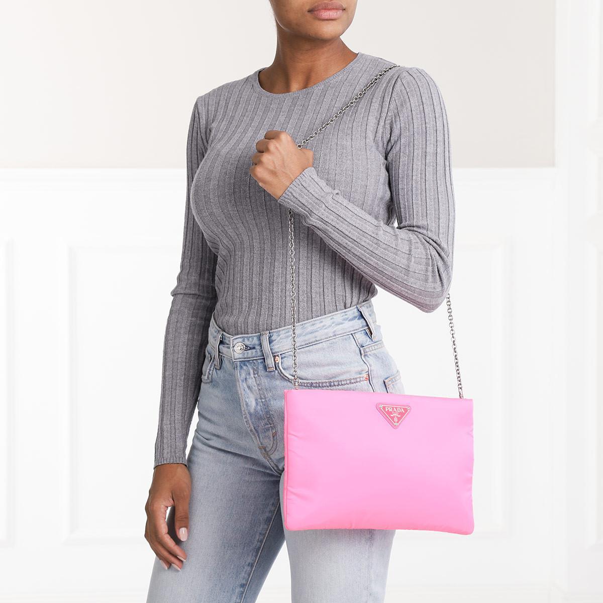 3168f0991d2fc9 Prada - Padded Nylon Clutch Medium Neon Pink - Lyst. View fullscreen