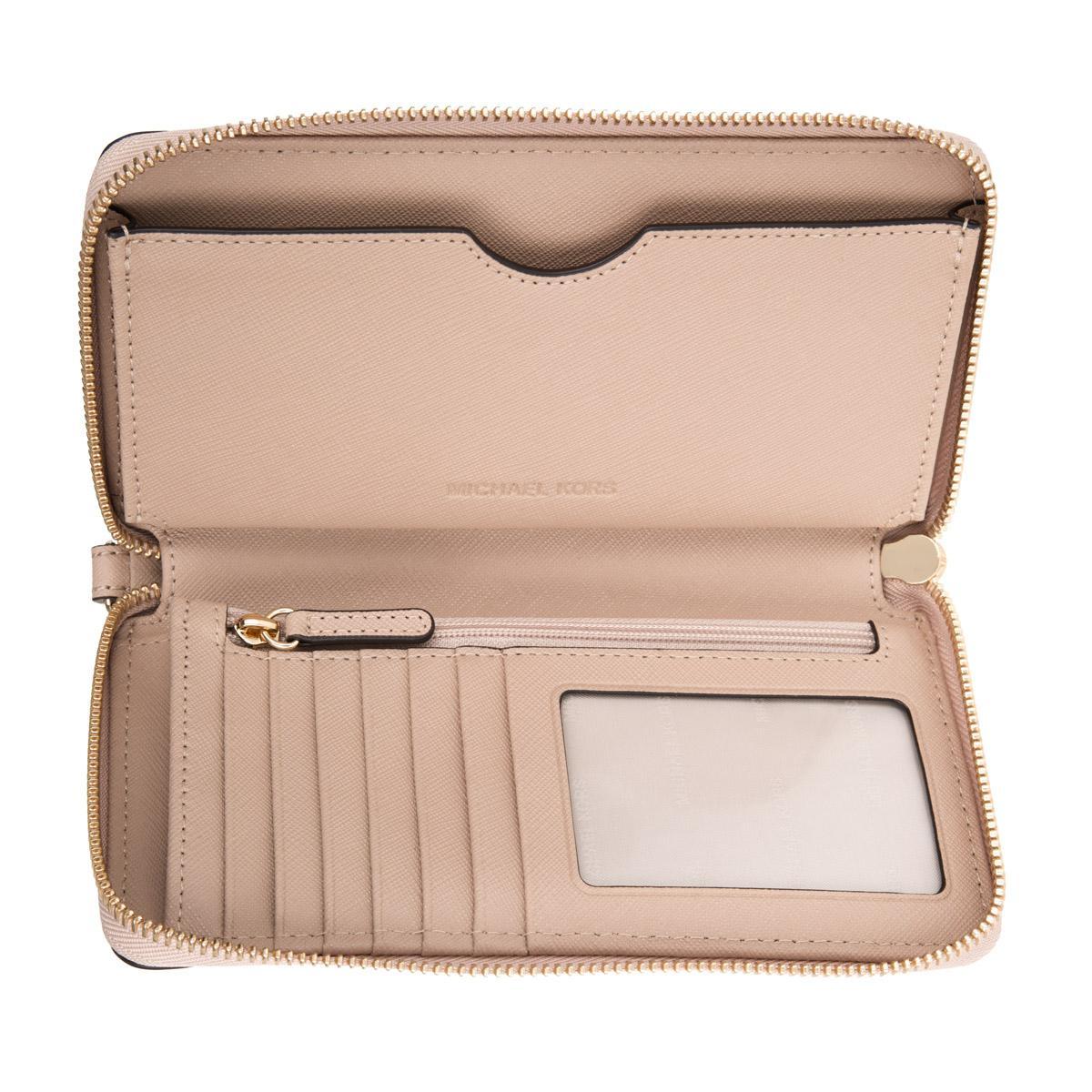 f6733c98c30778 Michael Kors Mercer Lg Flat Multifunction Phone Case Leather Oyster ...