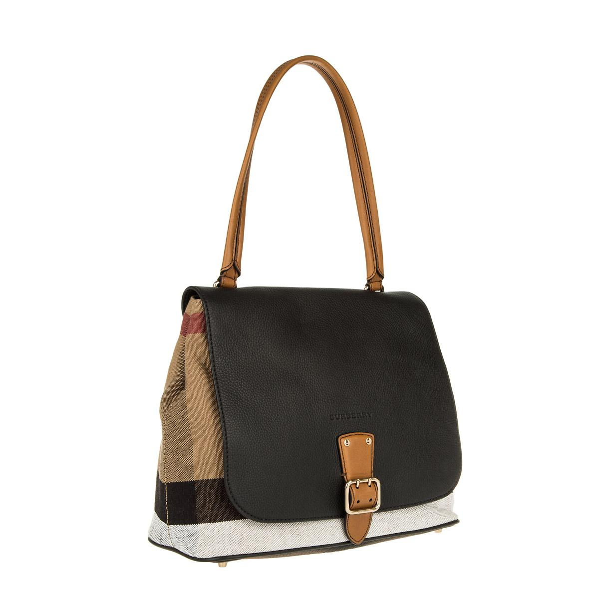 a29a271ebe85 Burberry Brit Grainy Canvas Check Medium Shellwood Satchel Black in ...