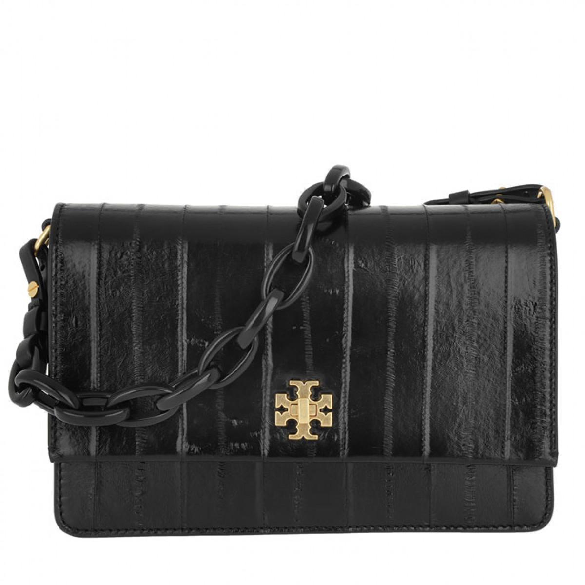 da9481c060f3 Tory Burch Kira Eel Double-strap Shoulder Bag Black in Black - Lyst