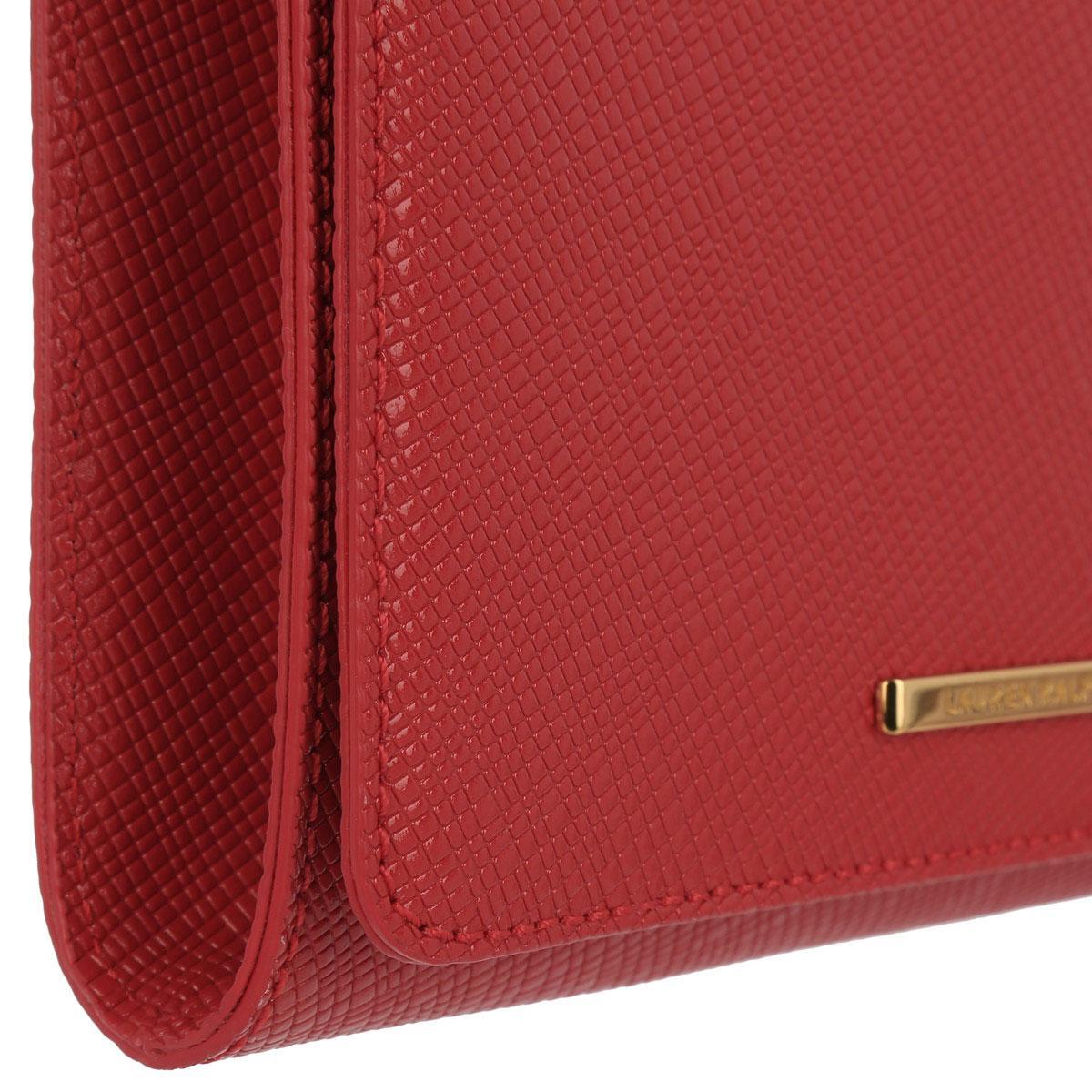 Lyst - Lauren By Ralph Lauren Delaney Leather Clutch Tango Red in Red ea52f1da82