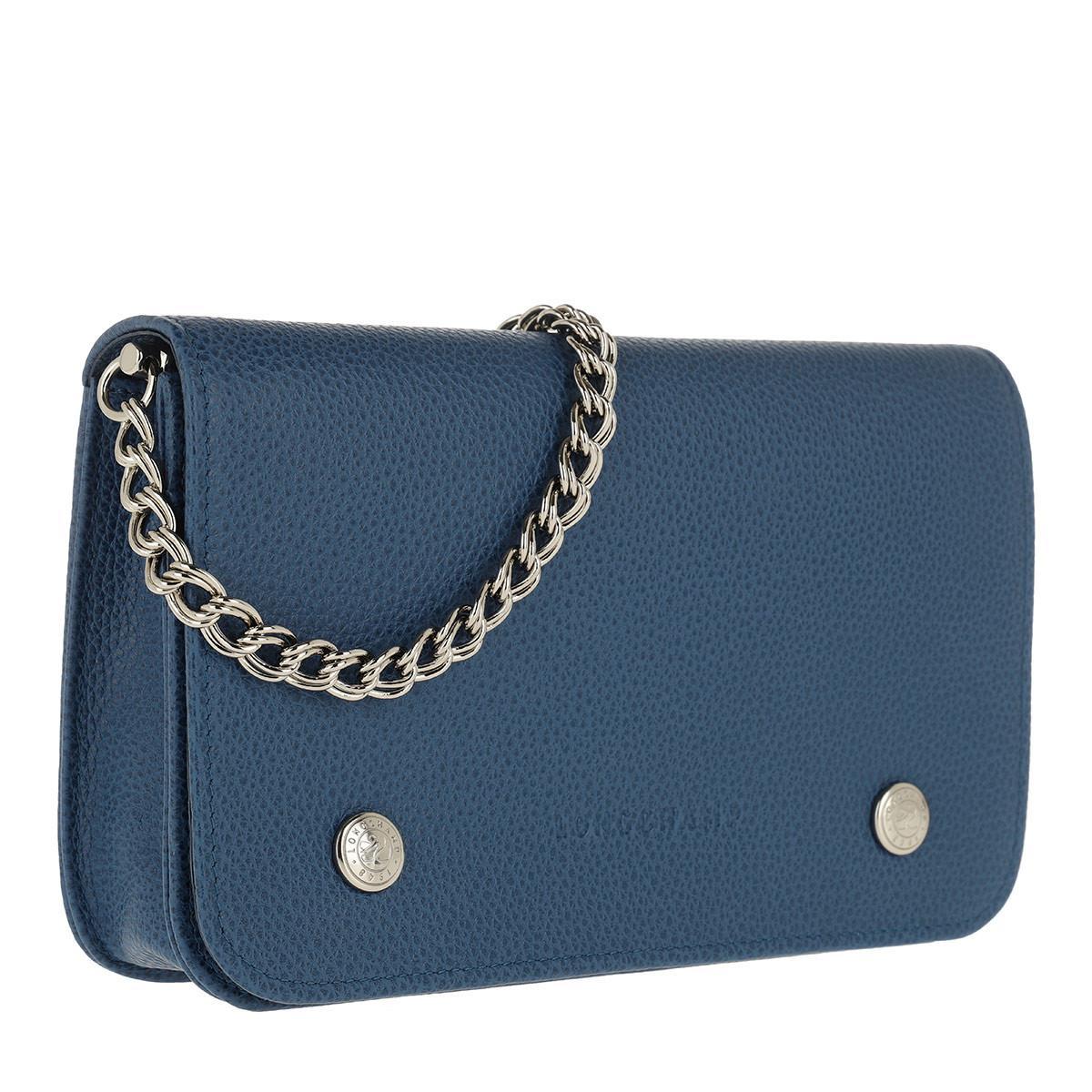 56b2dab80611 Longchamp - Blue Le Foulonné Wallet On Chain Leather Sapphire - Lyst. View  fullscreen