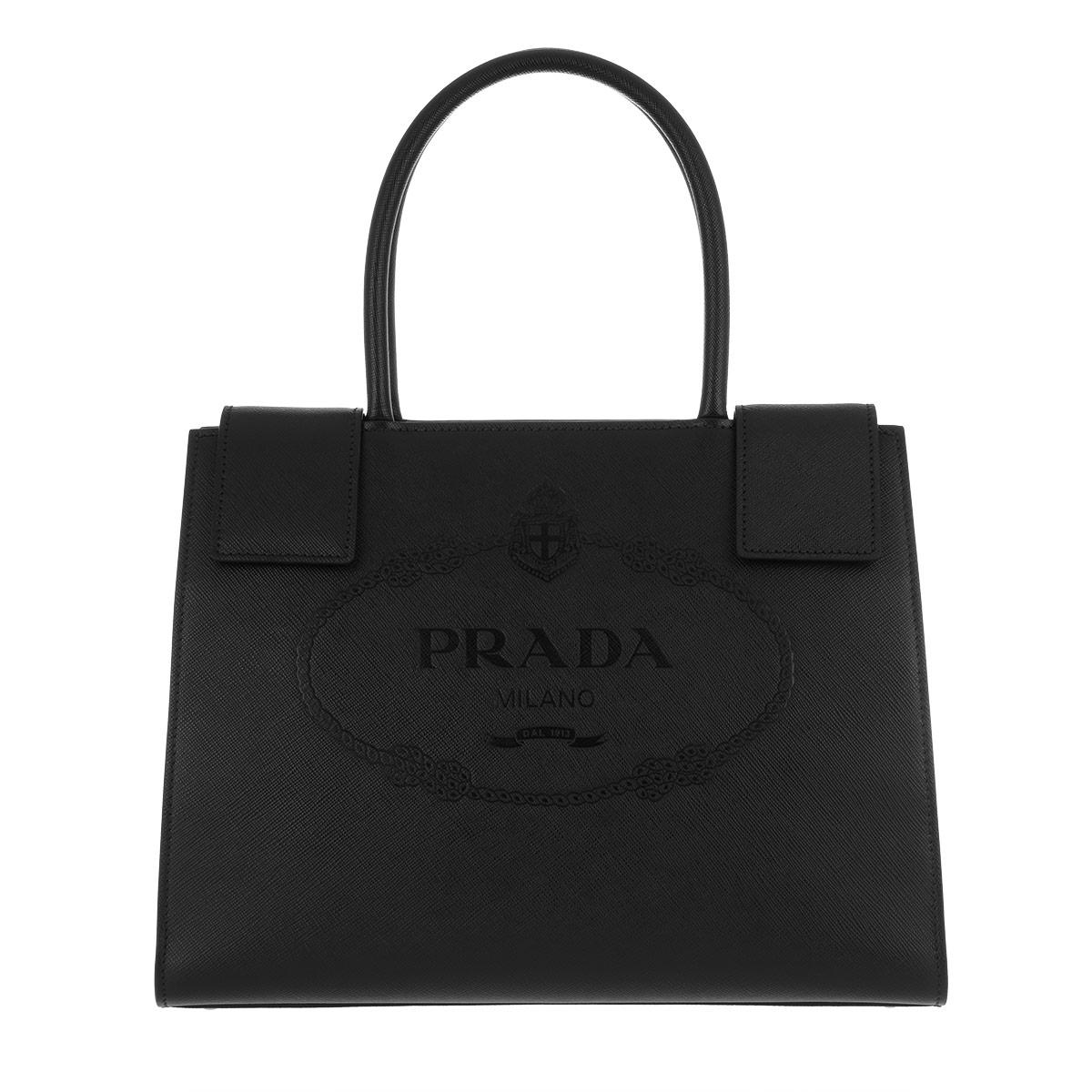 Tote - Shopping Bag City Calf Nero/Soleil - yellow, black - Tote for ladies Prada