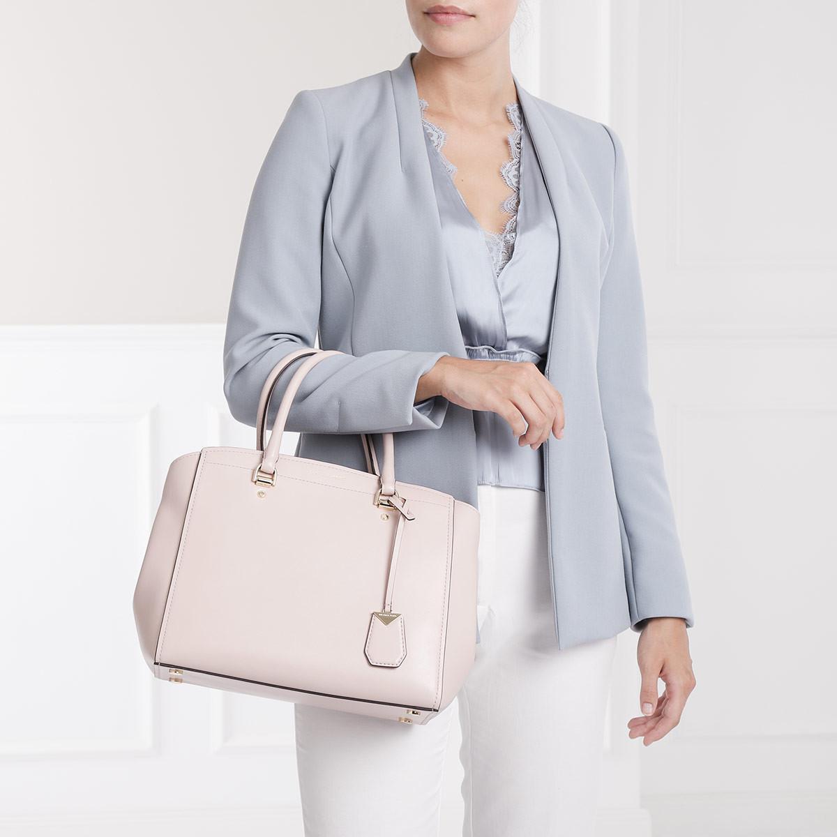c2eea5903aae9 Michael Kors - Benning Lg Satchel Bag Soft Pink - Lyst. View fullscreen