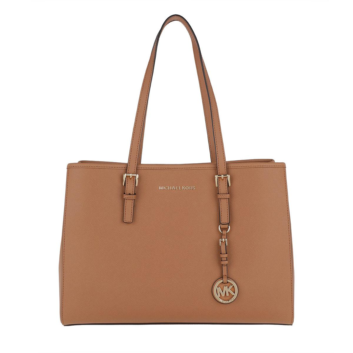 de43f8b12d3c Michael Kors Jet Set Travel Lg Ew Tote Leather Acorn in Brown - Lyst
