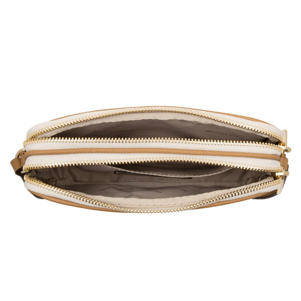 0bfa6cda898347 Michael Kors Bedford Md Double Zip Crossbody Bag Vanilla/acorn in ...