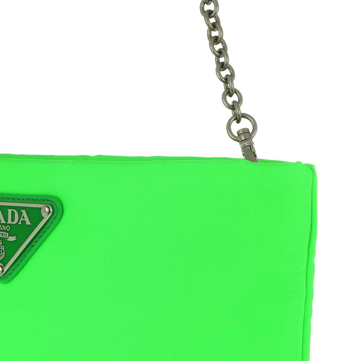 bc463dad6c33f2 Prada Clutch Padded Nylon 2 Neon Green in Green - Lyst