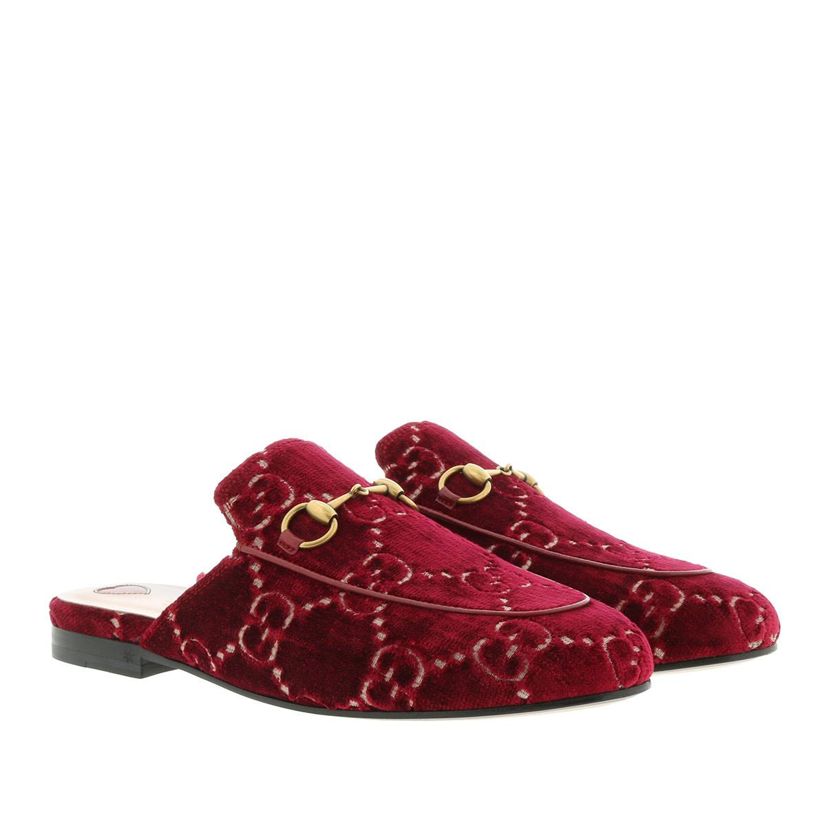 6ccab433d6f Gucci Princetown GG Velvet Slippers in Red - Save 4% - Lyst