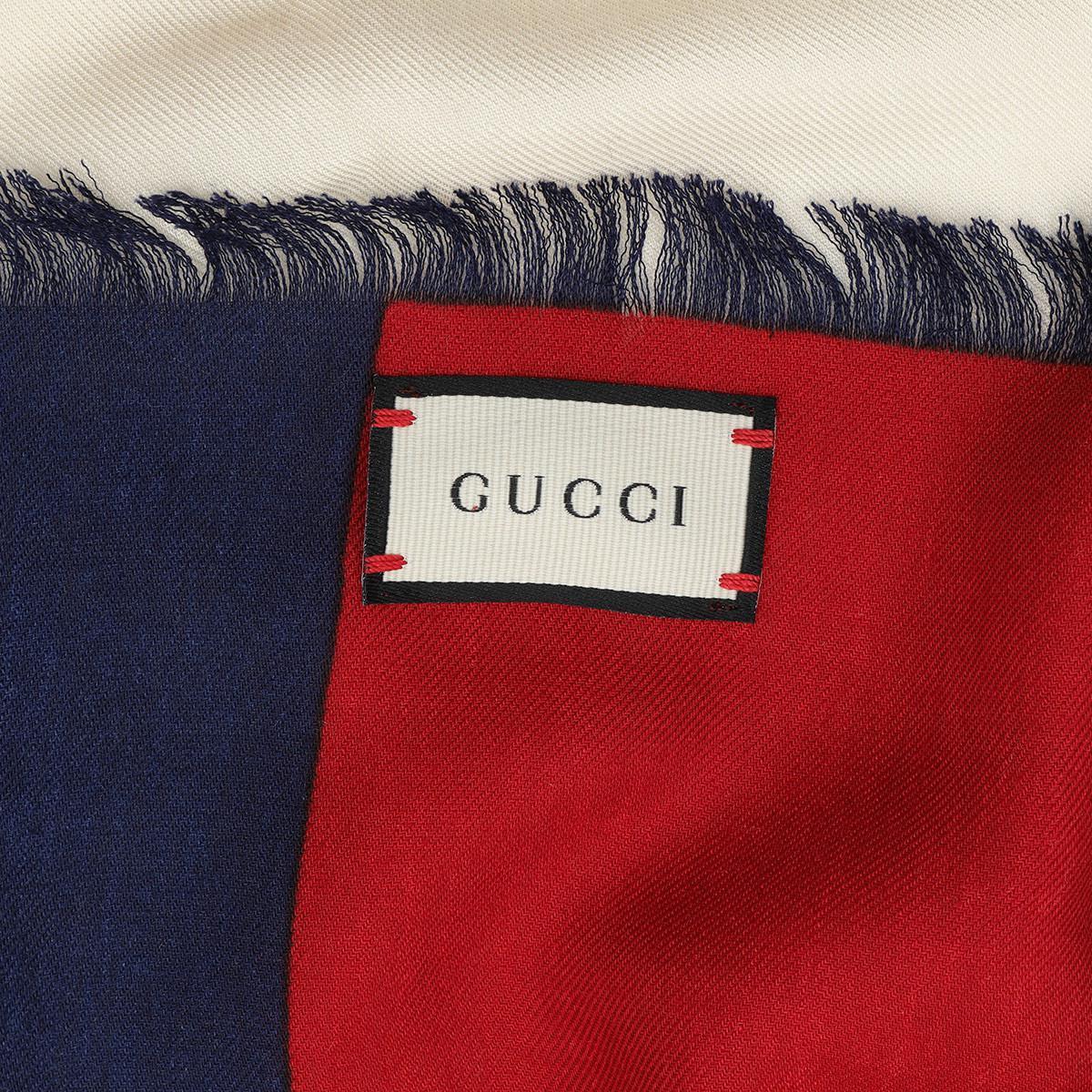 692b45c549e Gucci - White Guccy Web Modal Silk Scarf Ivory blue - Lyst. View fullscreen