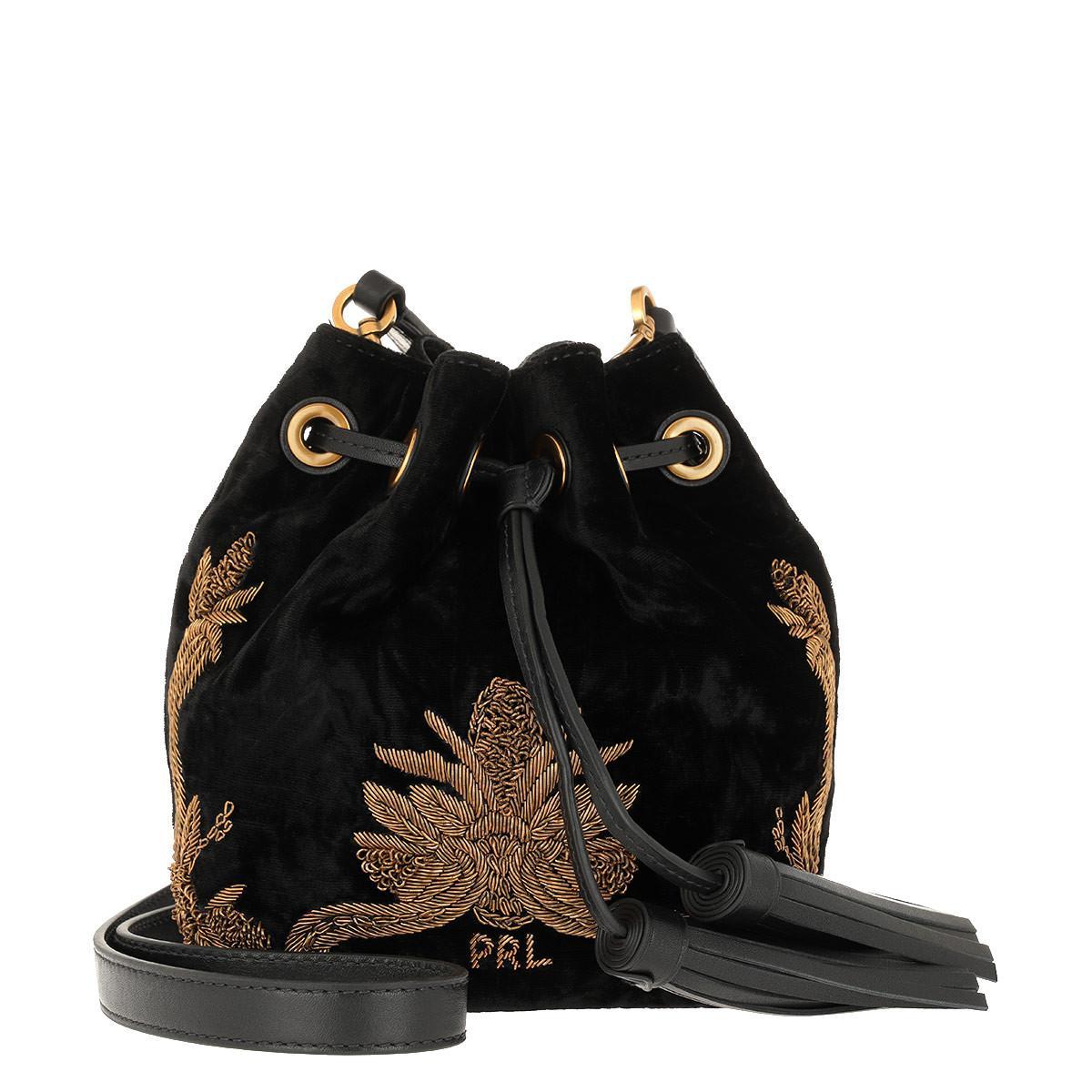 Polo Ralph Lauren. Women s Brooke Sm Drawstring Crossbody Bag Small Black 5c8d498b60ec5