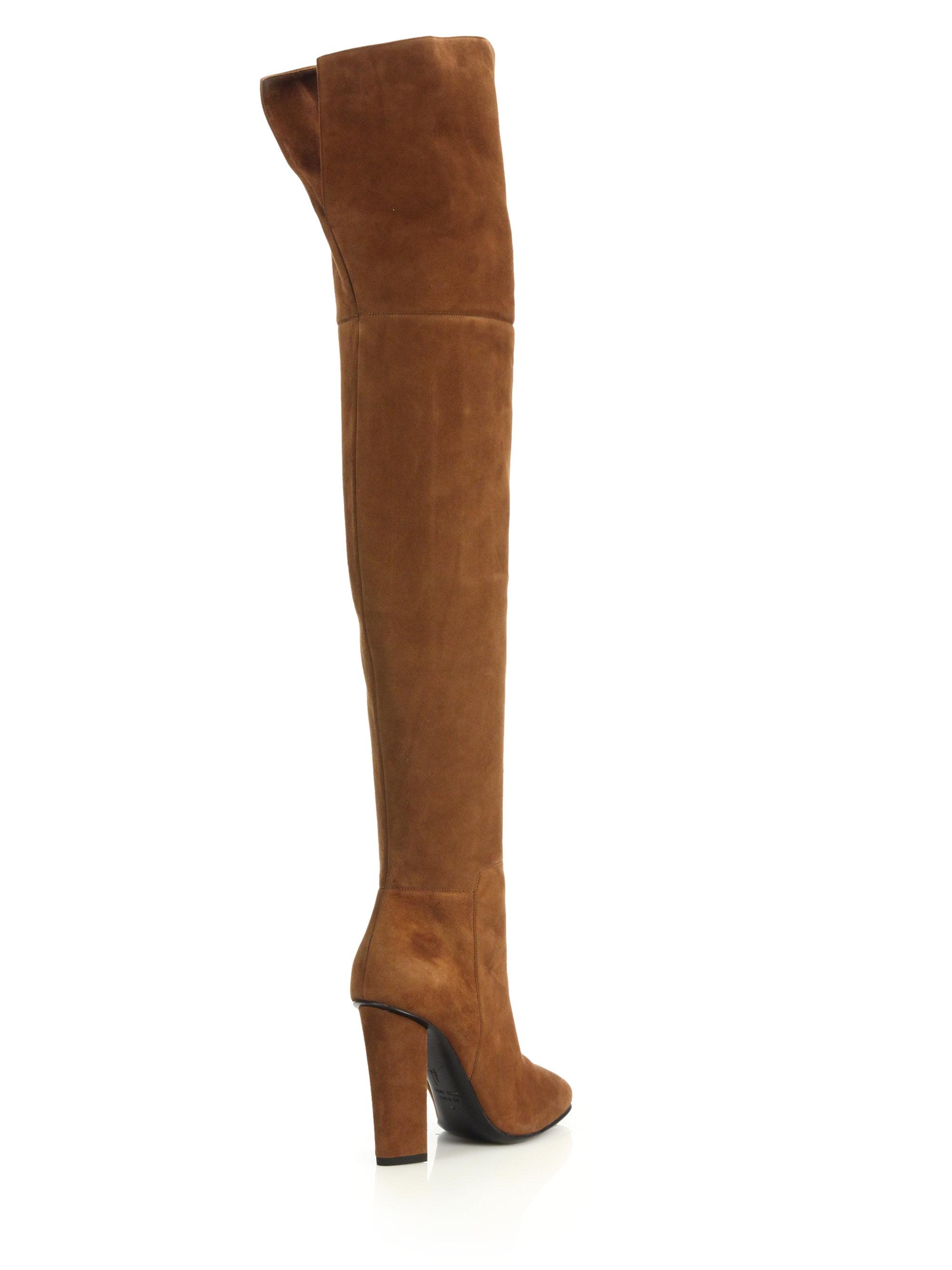 giuseppe zanotti suede the knee split back boots in