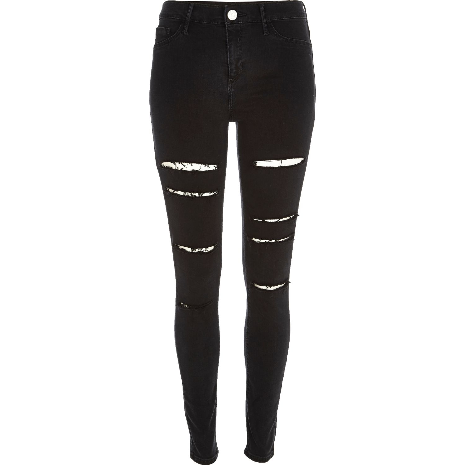 efa0949894038 River Island Black Ripped Molly Jeggings in Black - Lyst