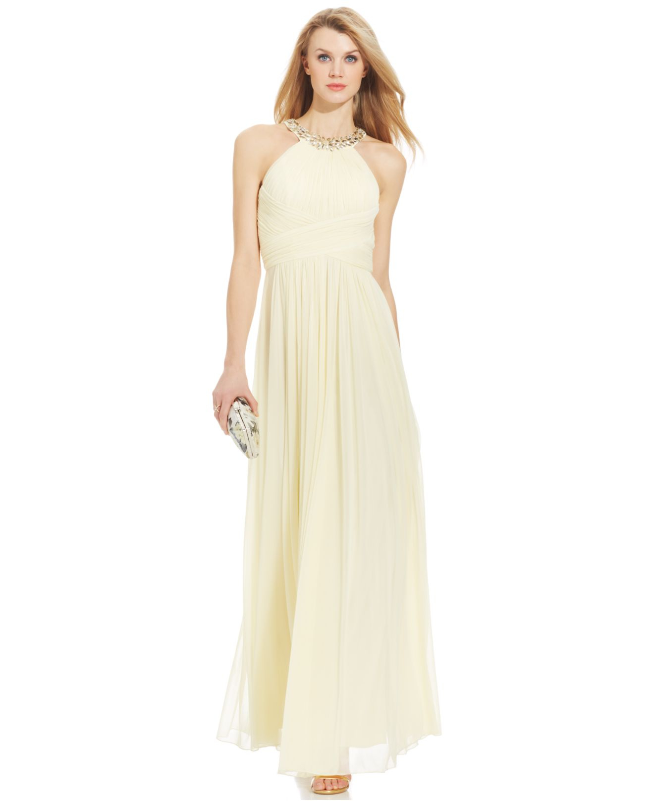 Lyst - Js Boutique Embellished Shirred Halter Gown in Yellow