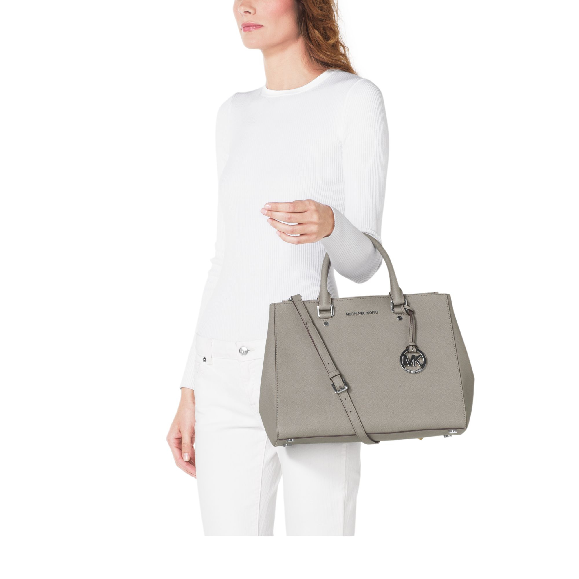 073566d53b24 wholesale michael kors sutton medium satchel pearl grey d7295 fe987  get  lyst michael kors sutton saffiano leather satchel in white 1df48 22a36