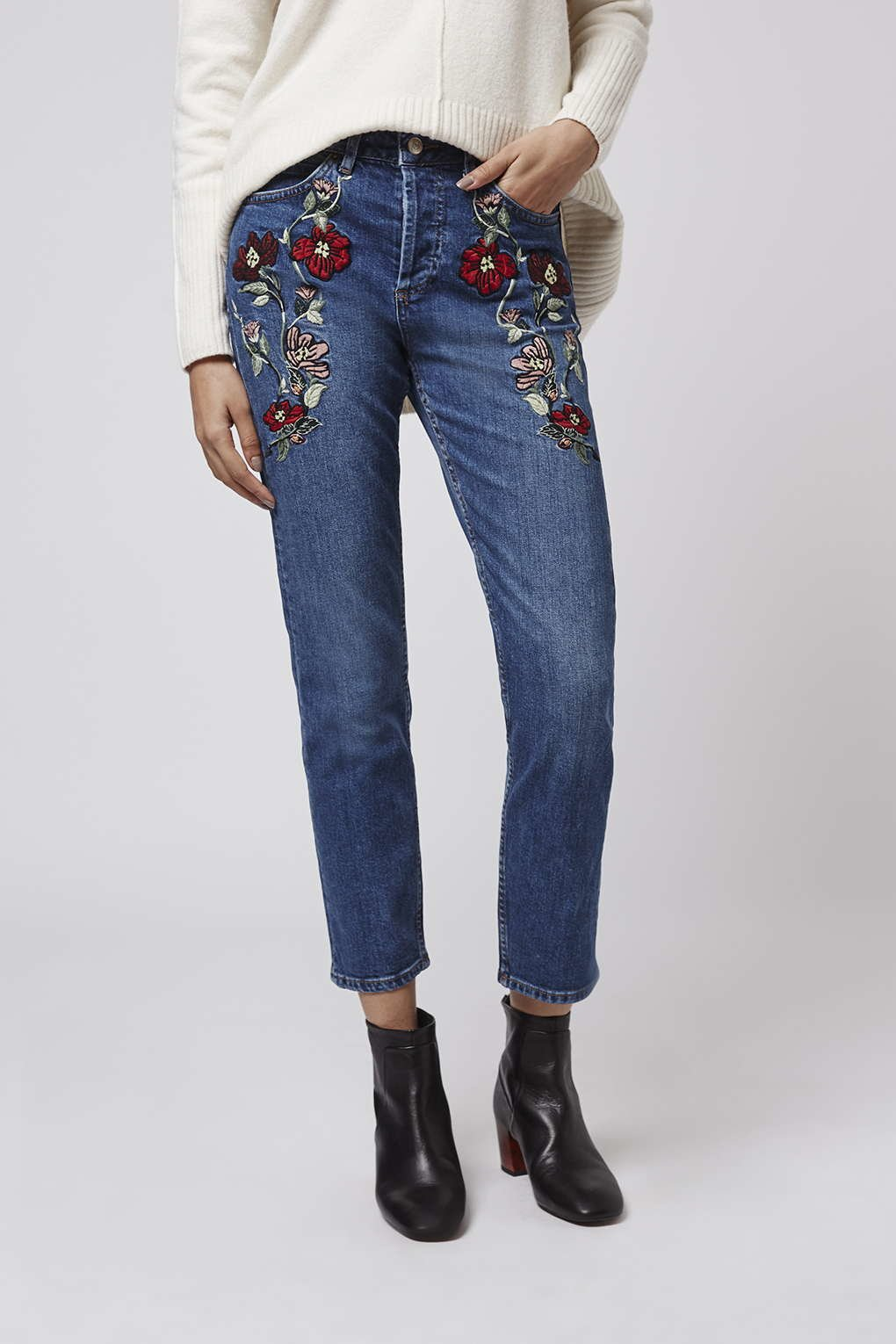 Topshop Moto Embroidered Straight Jeans In Blue  Lyst