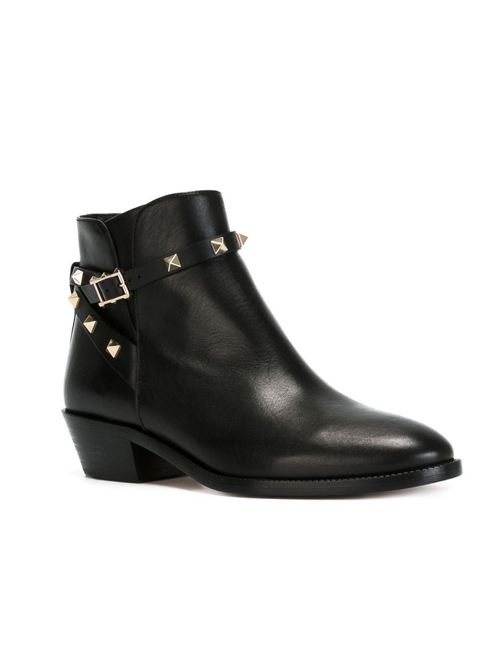 valentino rockstud boots in black lyst