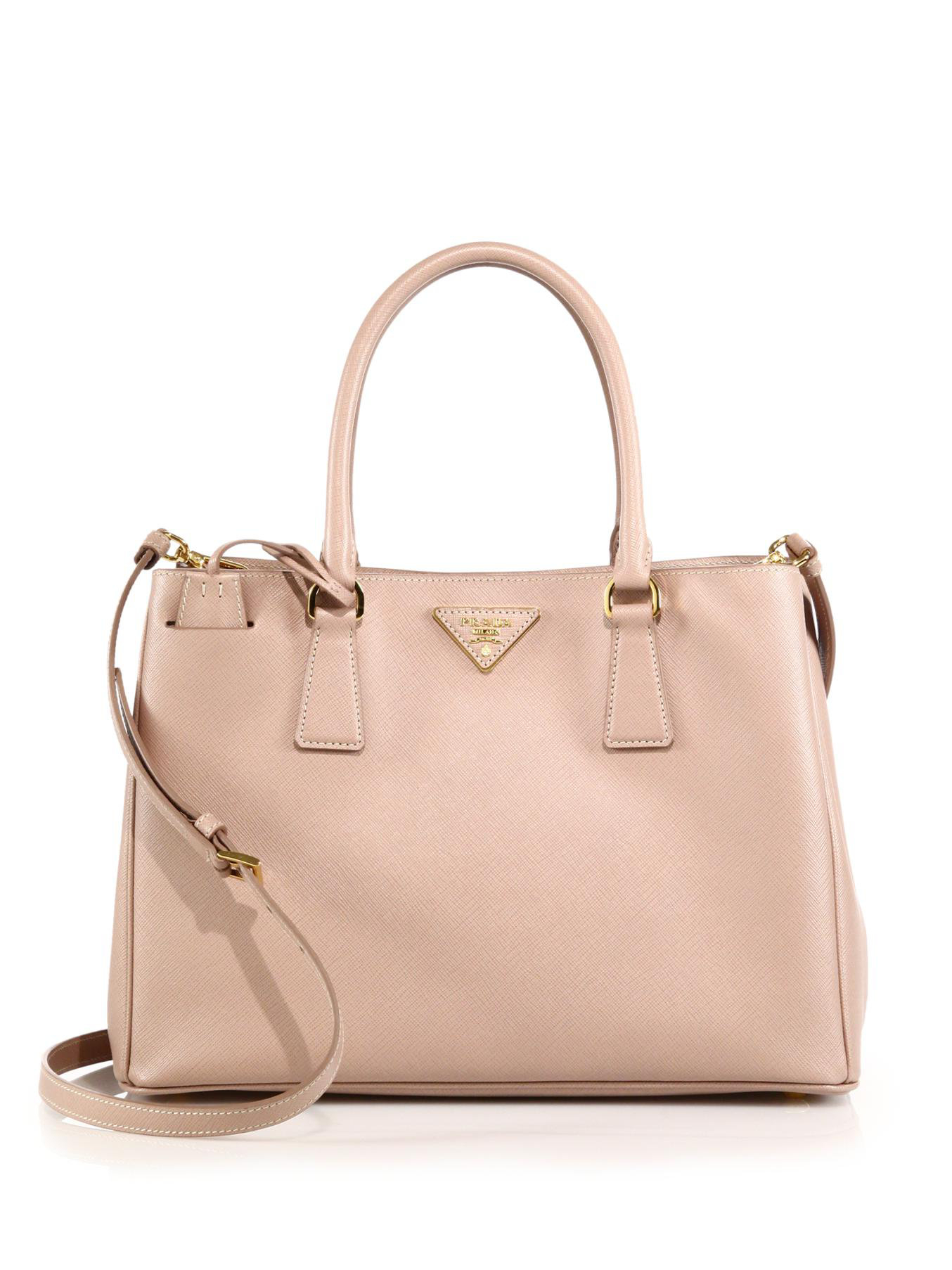 Prada Ostrich Double-zip Tote in Pink (begonia) | Lyst