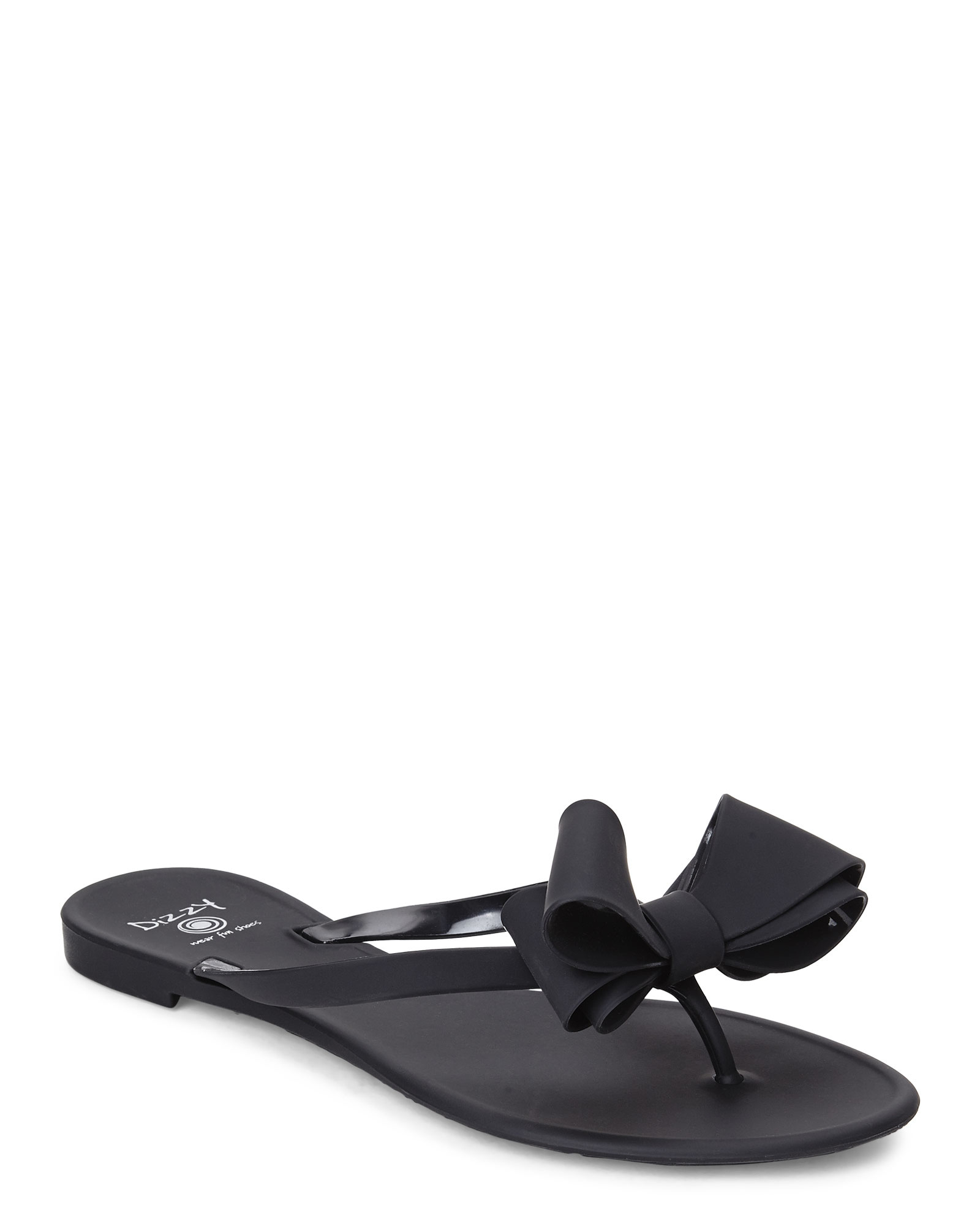 9ba8d54a574c12 Lyst - Dizzy Matte Bow Thong Sandals in Black