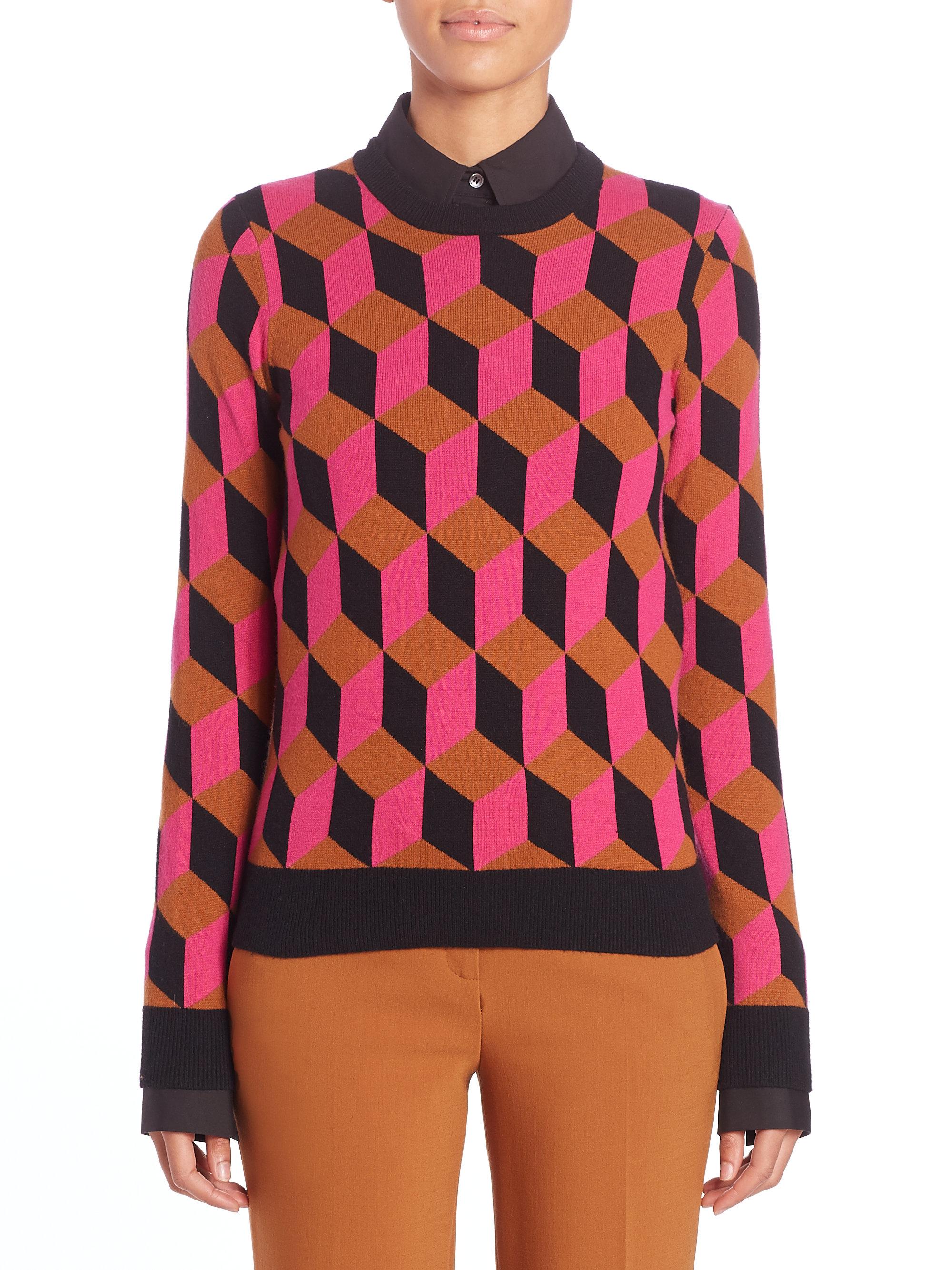 Michael kors Geometric Print Cashmere Sweater in Pink | Lyst