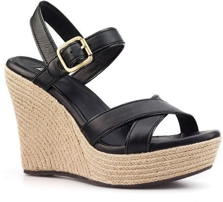 Ugg Jackilyn Leather Wedge Sandals In Black Lyst