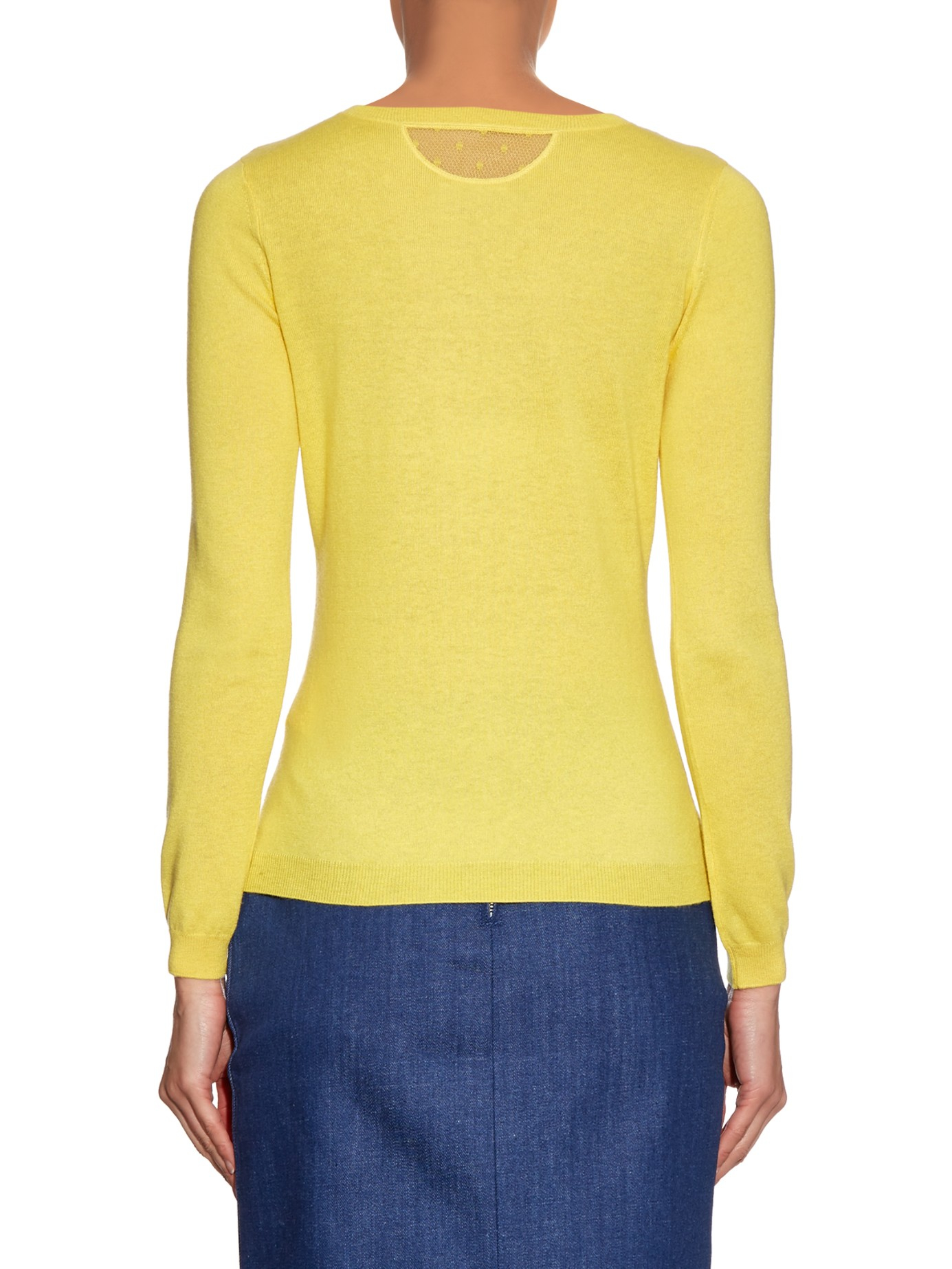 Red valentino Crew-neck Cashmere And Silk-blend Sweater in Yellow ...