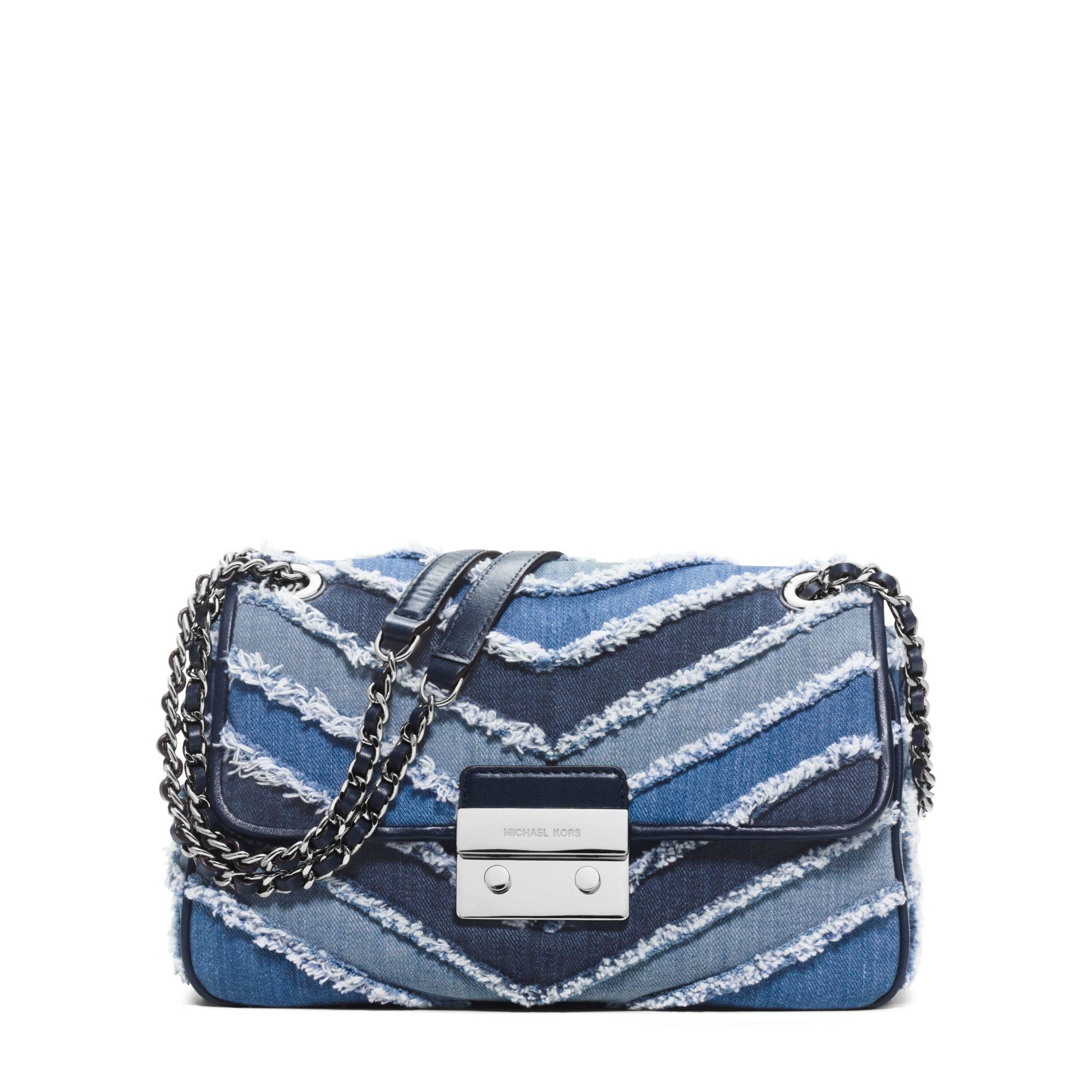 b76604138c19 Michael Kors Sloan Large Denim Chevron Shoulder Bag in Blue - Lyst