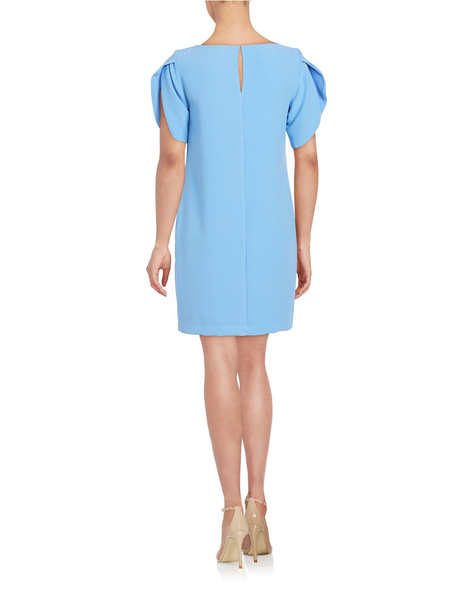 connection crepe shift dress in blue lyst