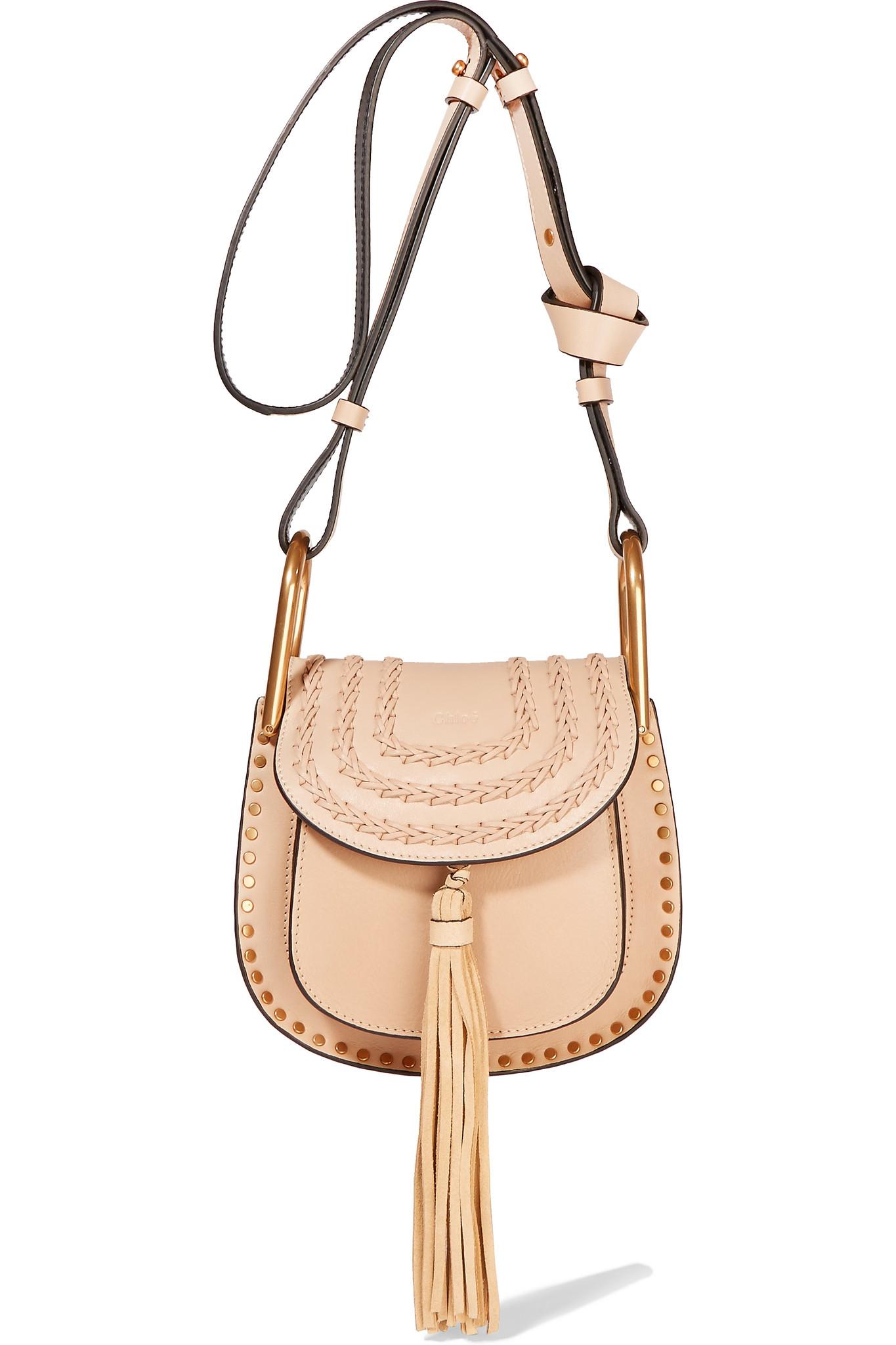 44f2394aff Chloé Hudson Mini Whipstitched Leather Shoulder Bag in Natural - Lyst